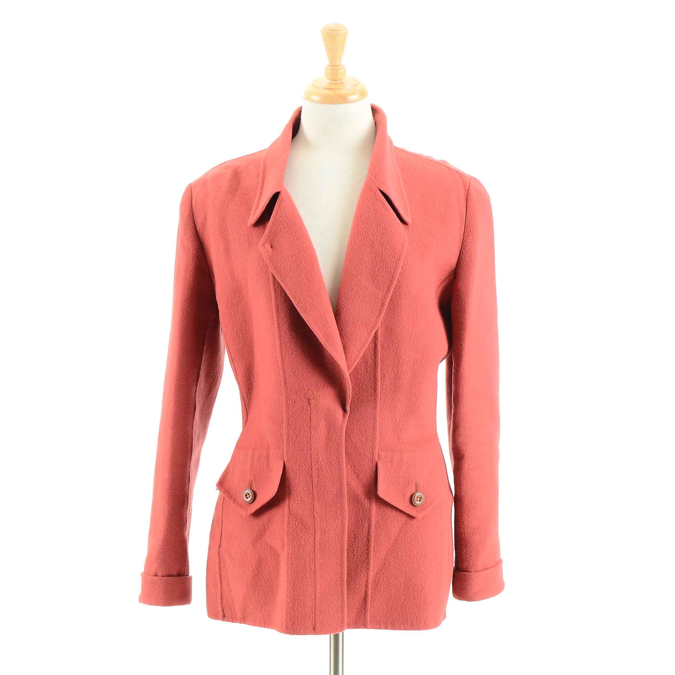 Vintage Oscar De La Renta Wool Jacket in Coral