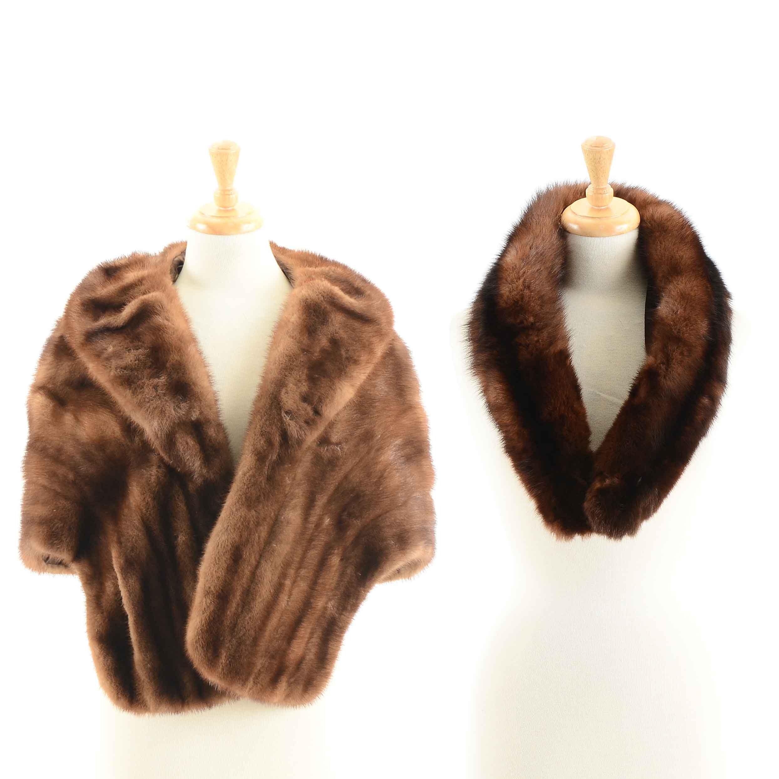 Vintage Brown Mink Fur Stole and Elsa Schiaparelli of Paris Marten Fur Stole