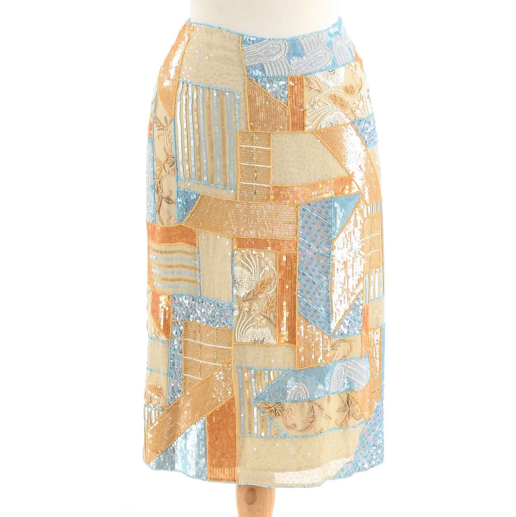 Escada Sequined and Beaded Silk Skirt with Embroidery