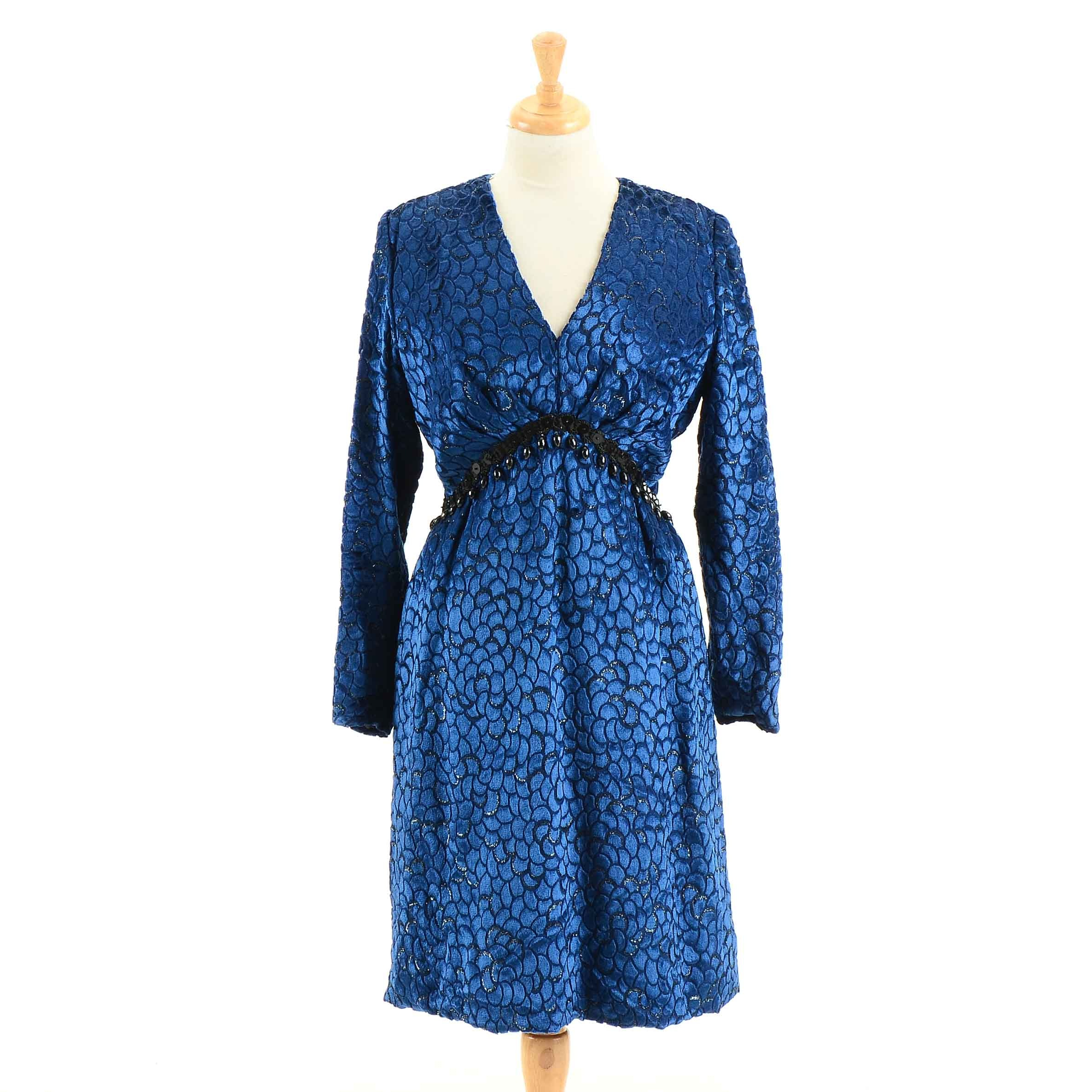 Vintage Michael Novarese Embellished Flocked Blue Velvet Cocktail Dress