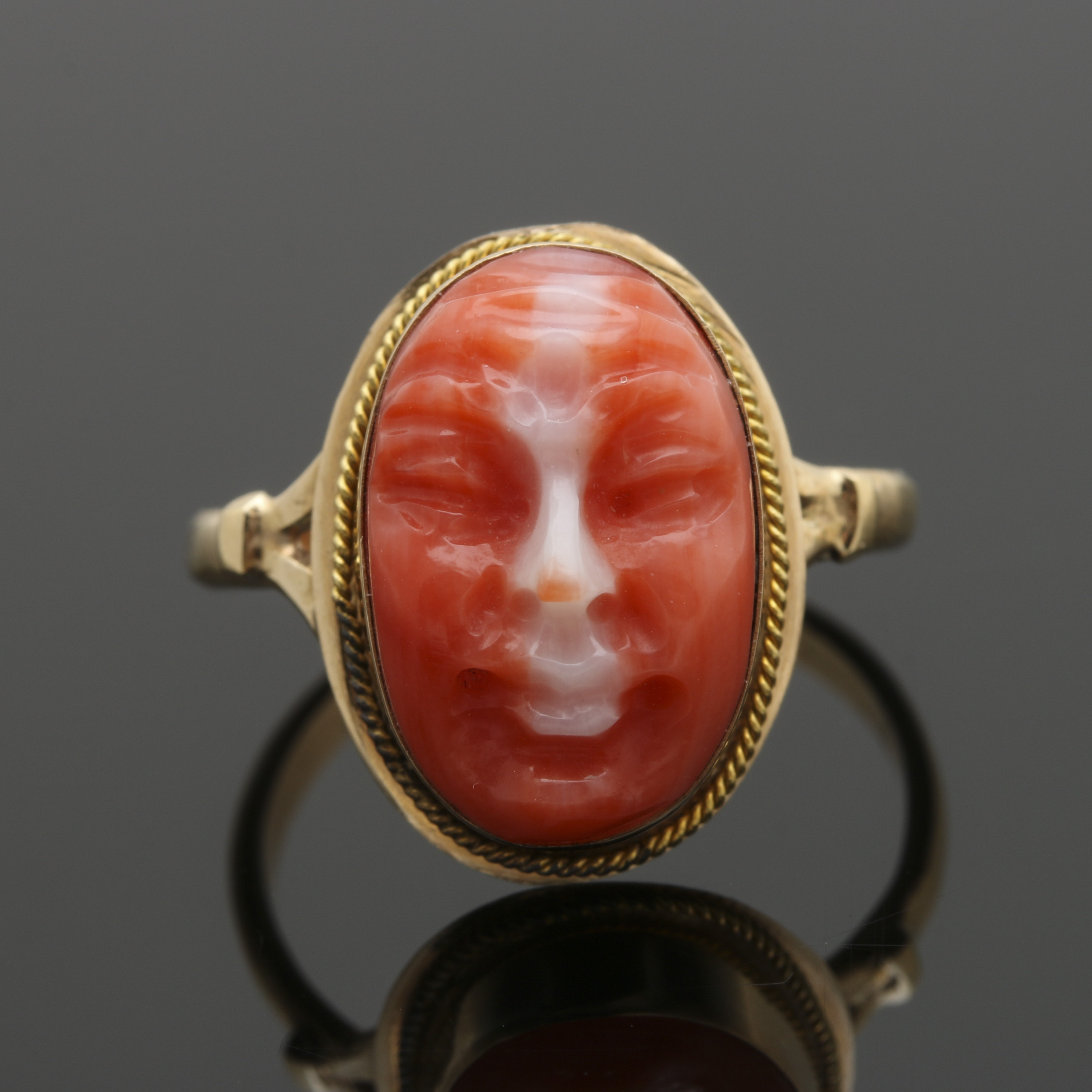 Antique 14K Yellow Gold Carved Coral Face Ring