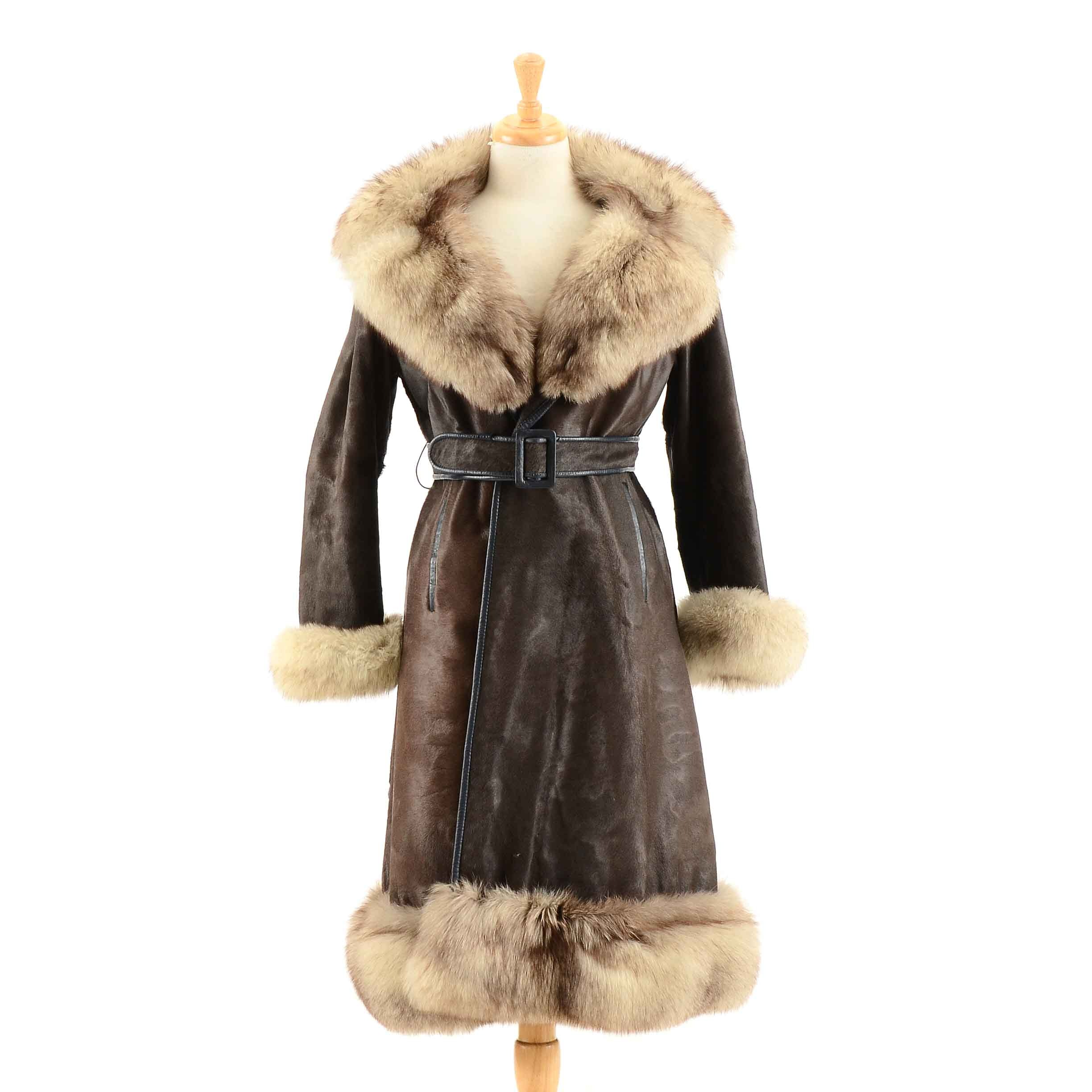 Vintage Pony Hair and Fox Fur Coat