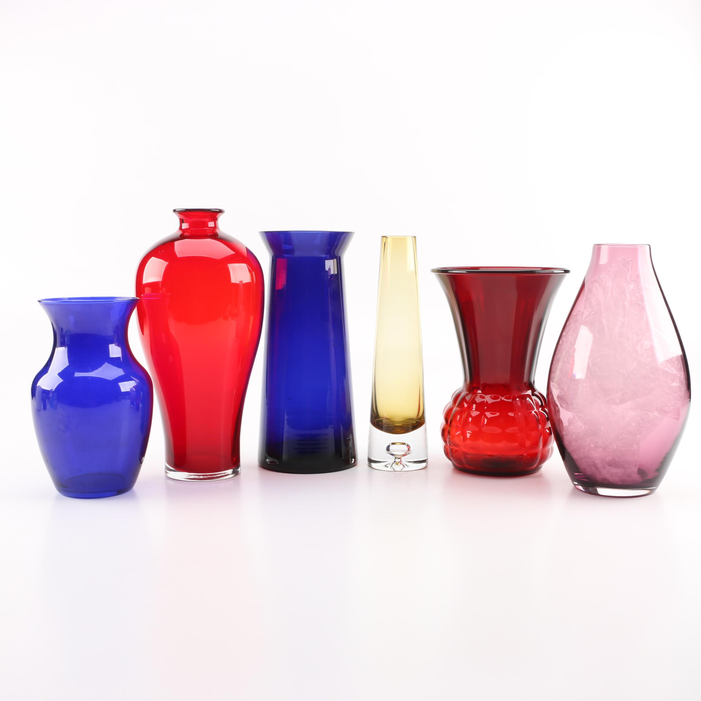"""Vases Including """"Royal Ruby"""" by Anchor Hocking"""