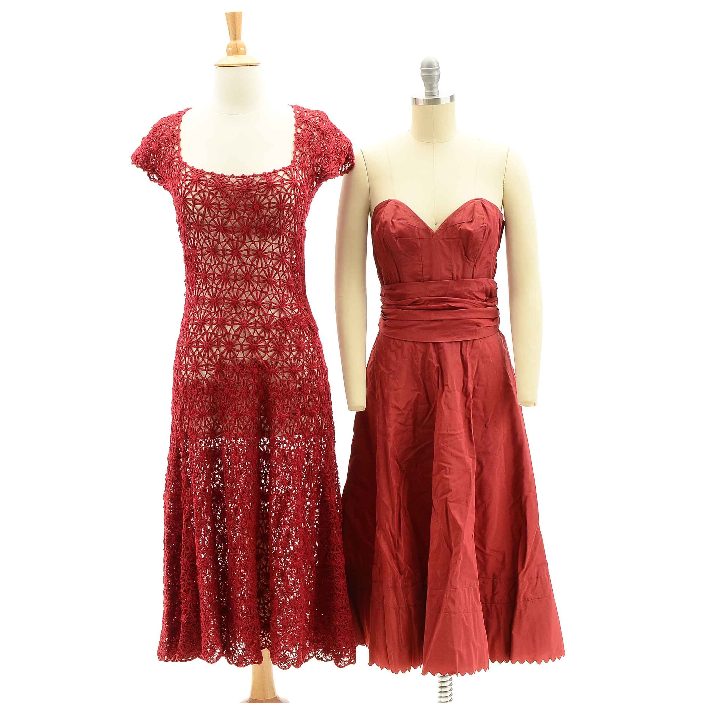 Vintage Red Crochet Dress and Strapless Cocktail Dress