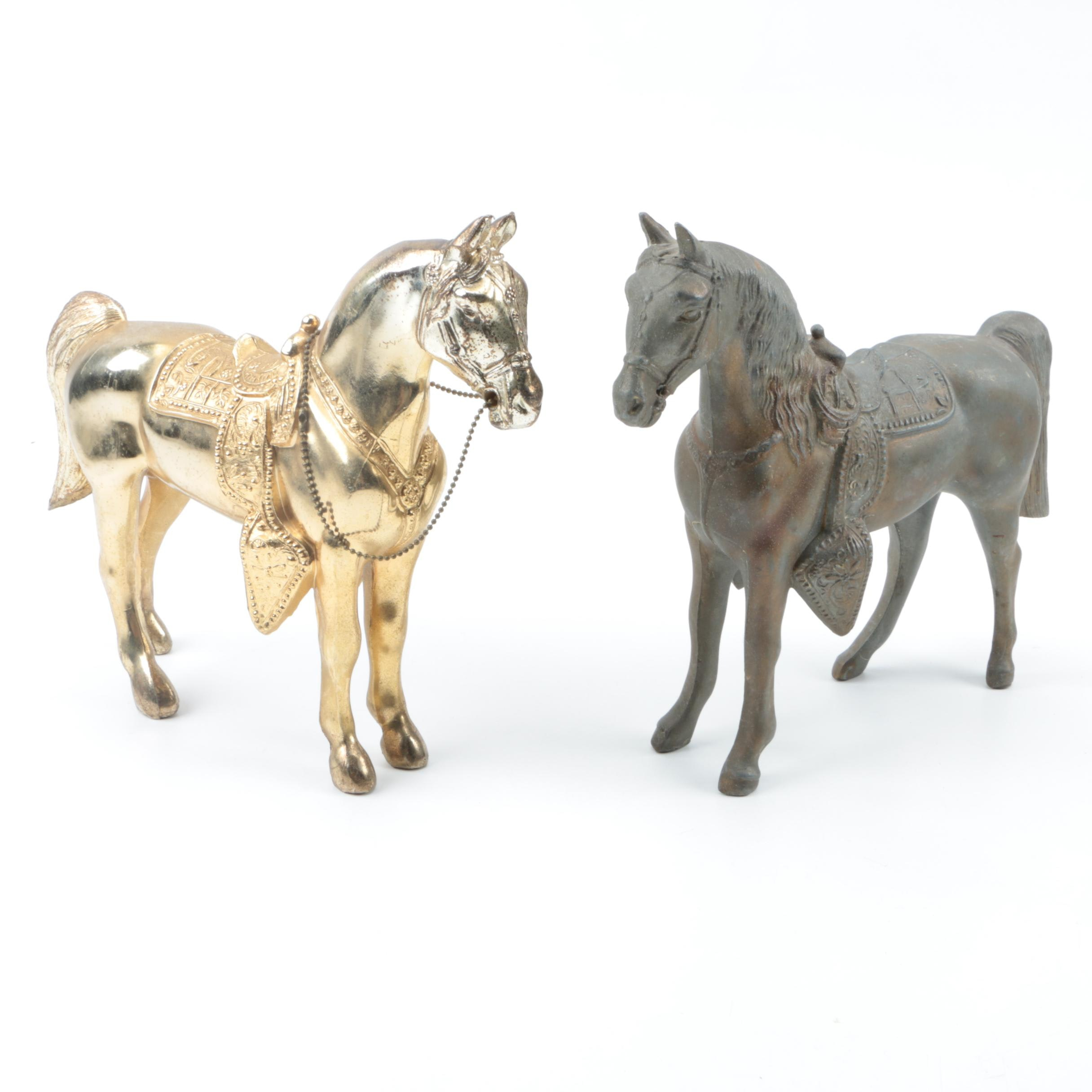 Pair of Metal Western Saddle Horse Figurines