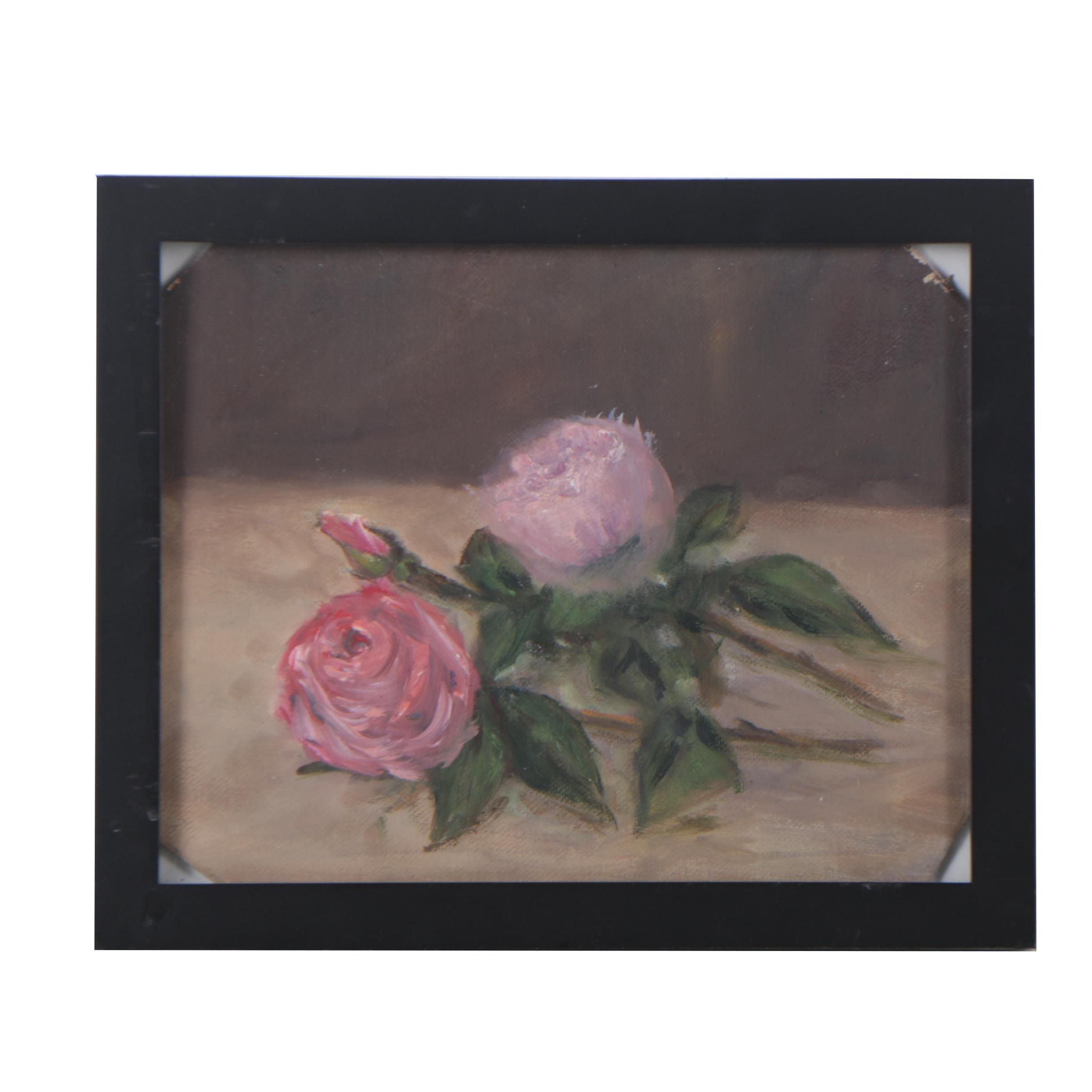 Oil Painting on Canvas Board of Roses