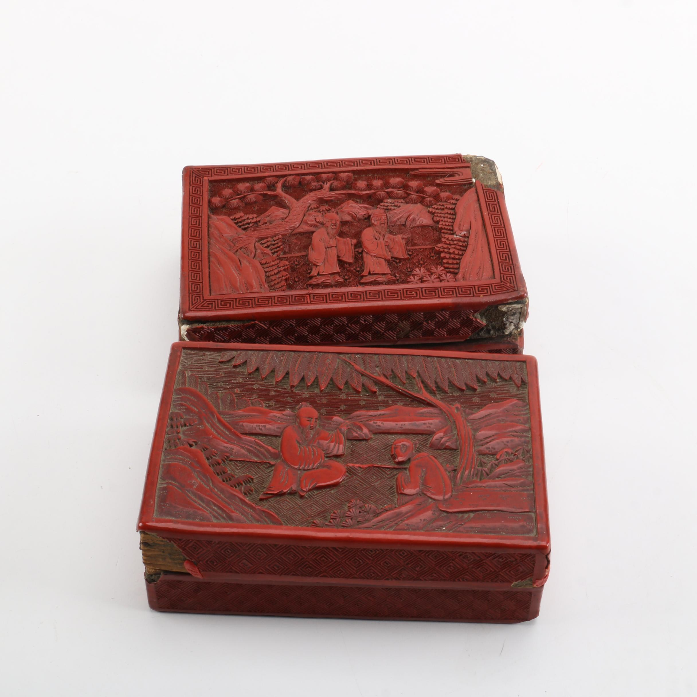 Chinese Cinnabar Style Lidded Boxes