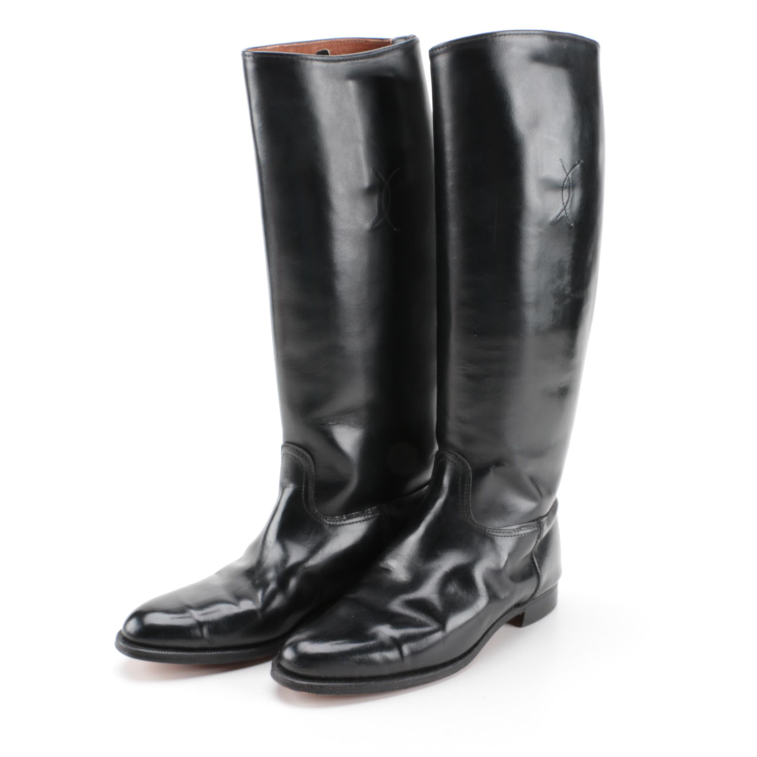 Women's Black Leather Riding Boots