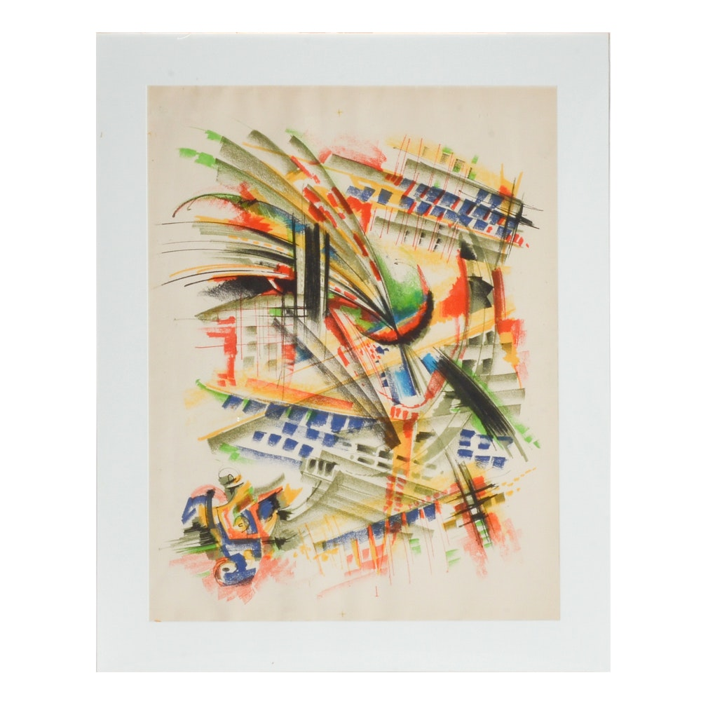 Abstract Lithographic Print on Paper