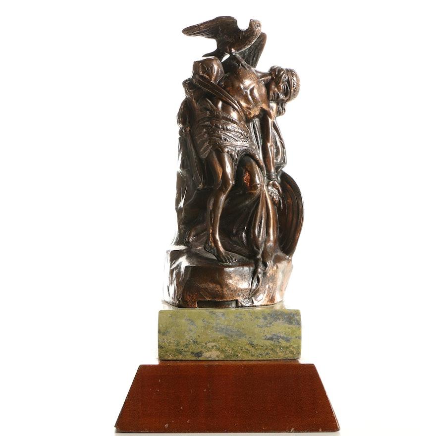 Vintage Brass Sculpture Of Irish Medieval Character Cuchulain Ebth