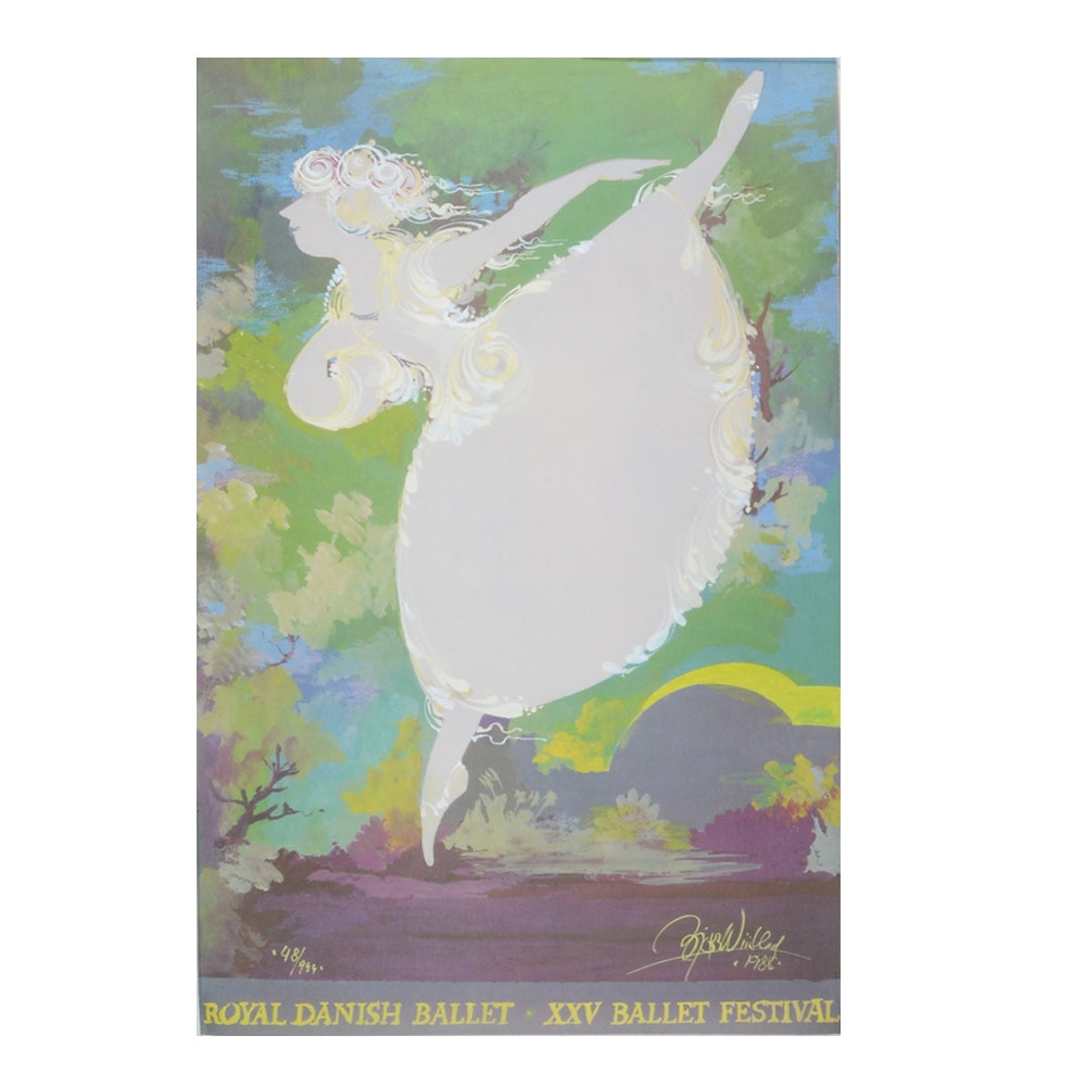 Bjorn Wiinblad Limited Edition Offset Lithograph Poster for Royal Danish Ballet