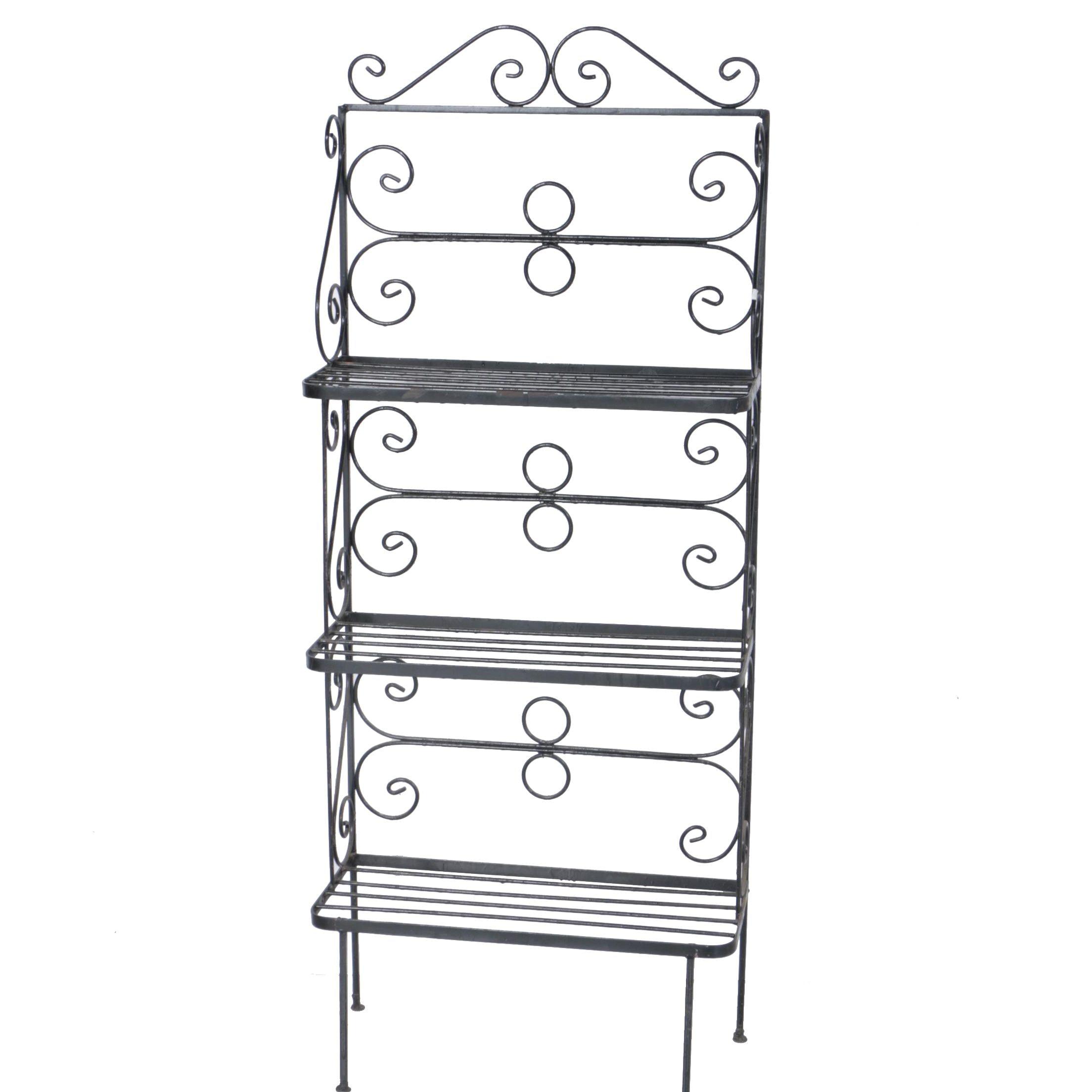 Vintage Wrought Iron Baker's Rack