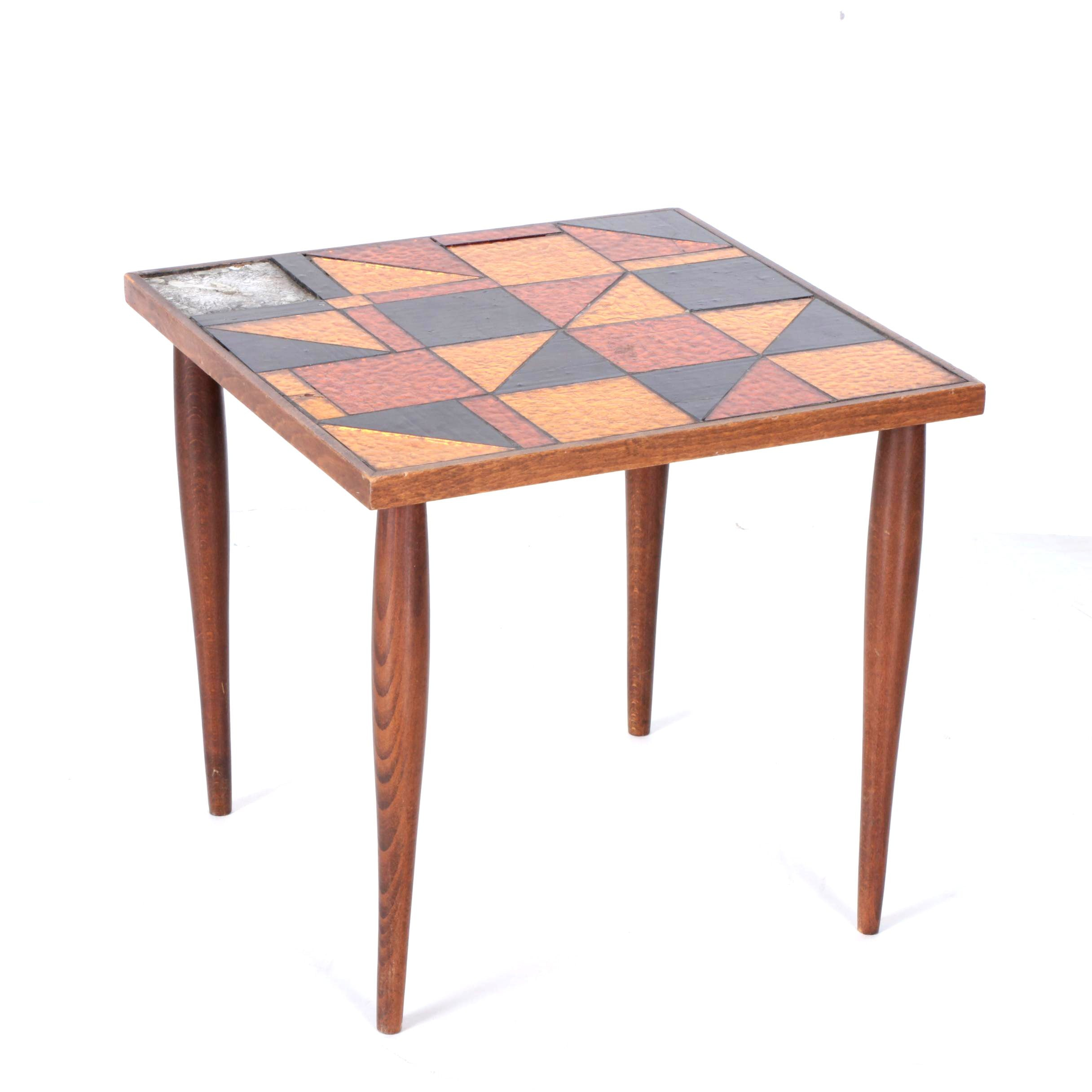 Mid Century Modern Stained Glass End Table