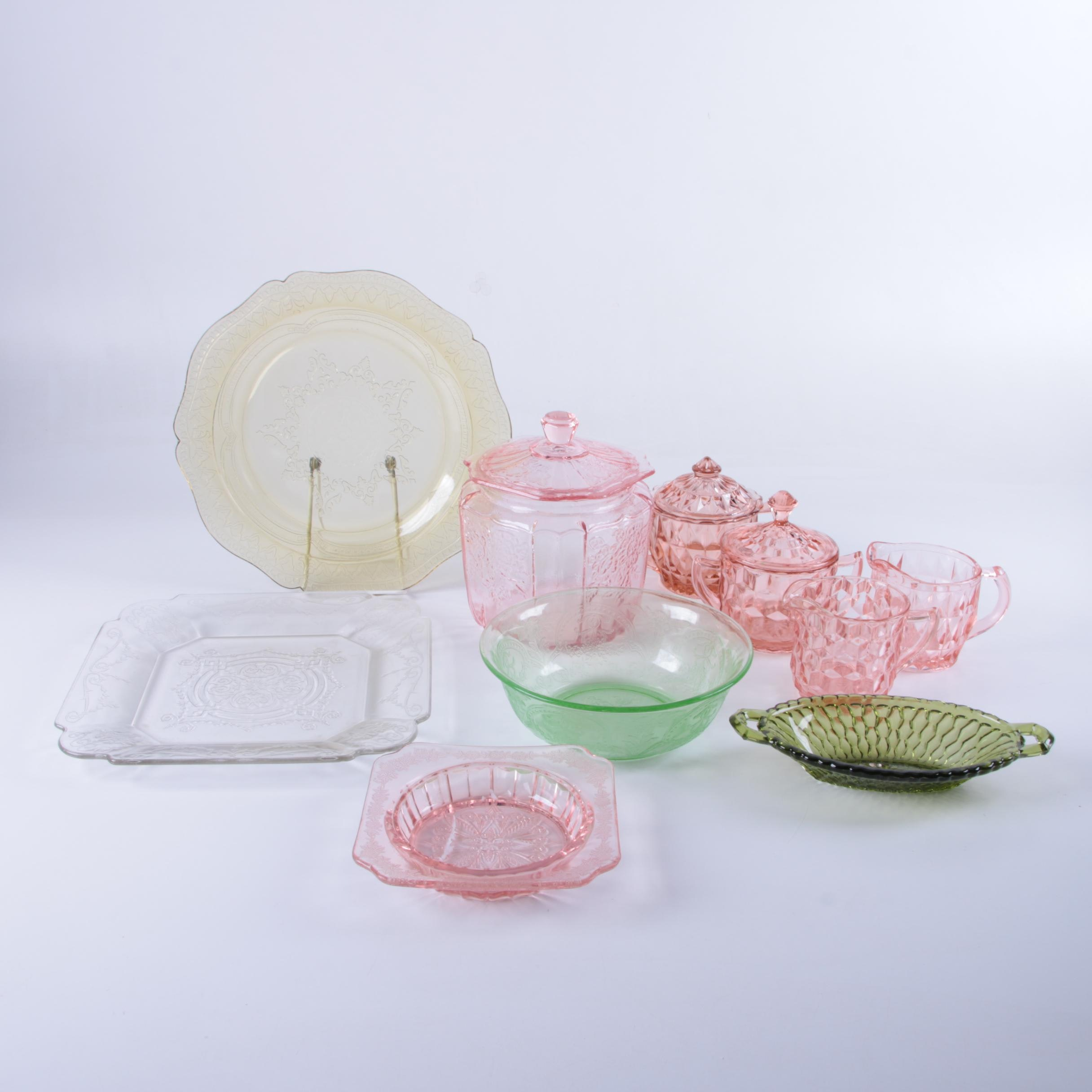 """Depression Glass Including Jeannette """"Cube Pink"""" Creamer and Sugar Bowl"""