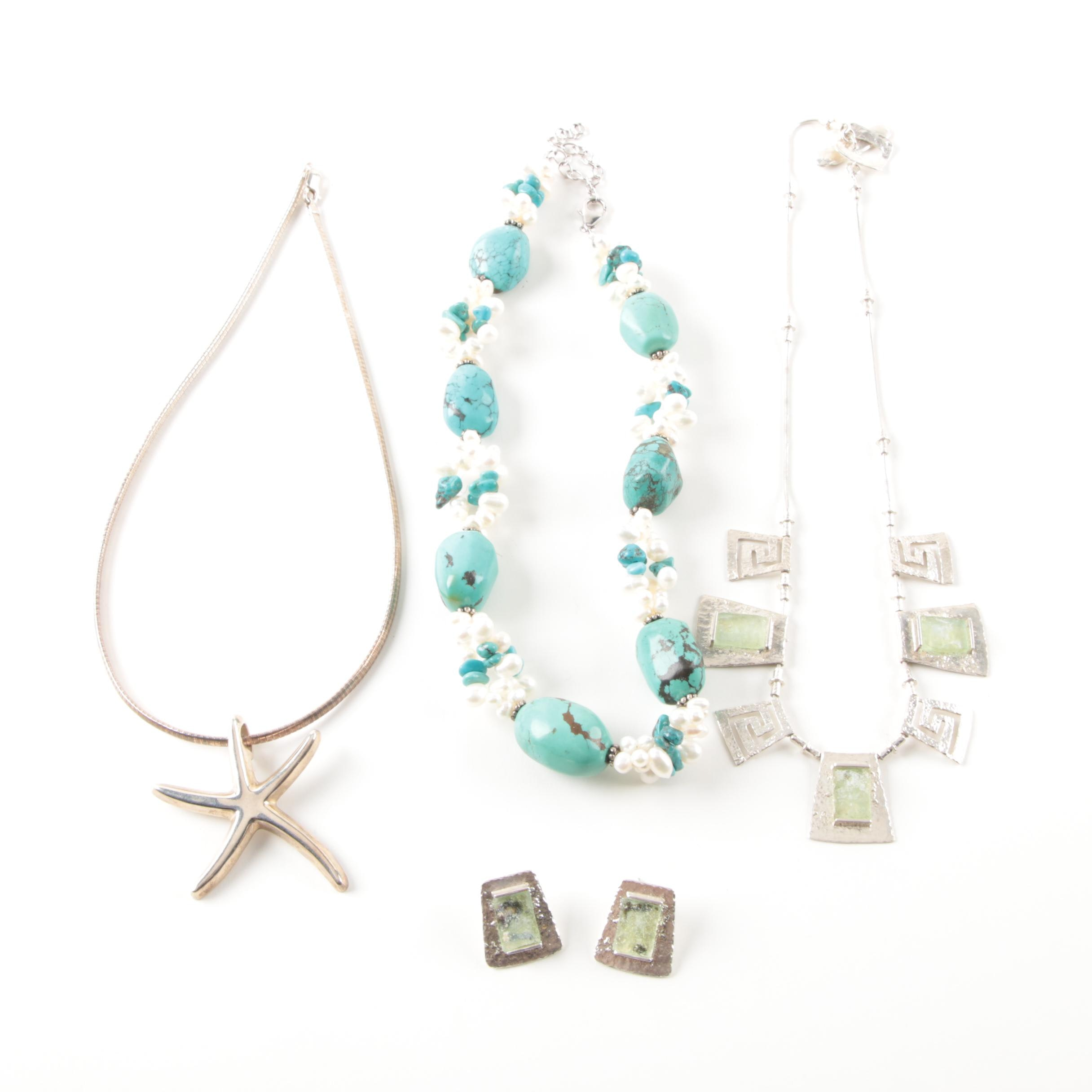 Sterling Silver Necklaces and Earrings Including Turquoise and Cultured Pearl