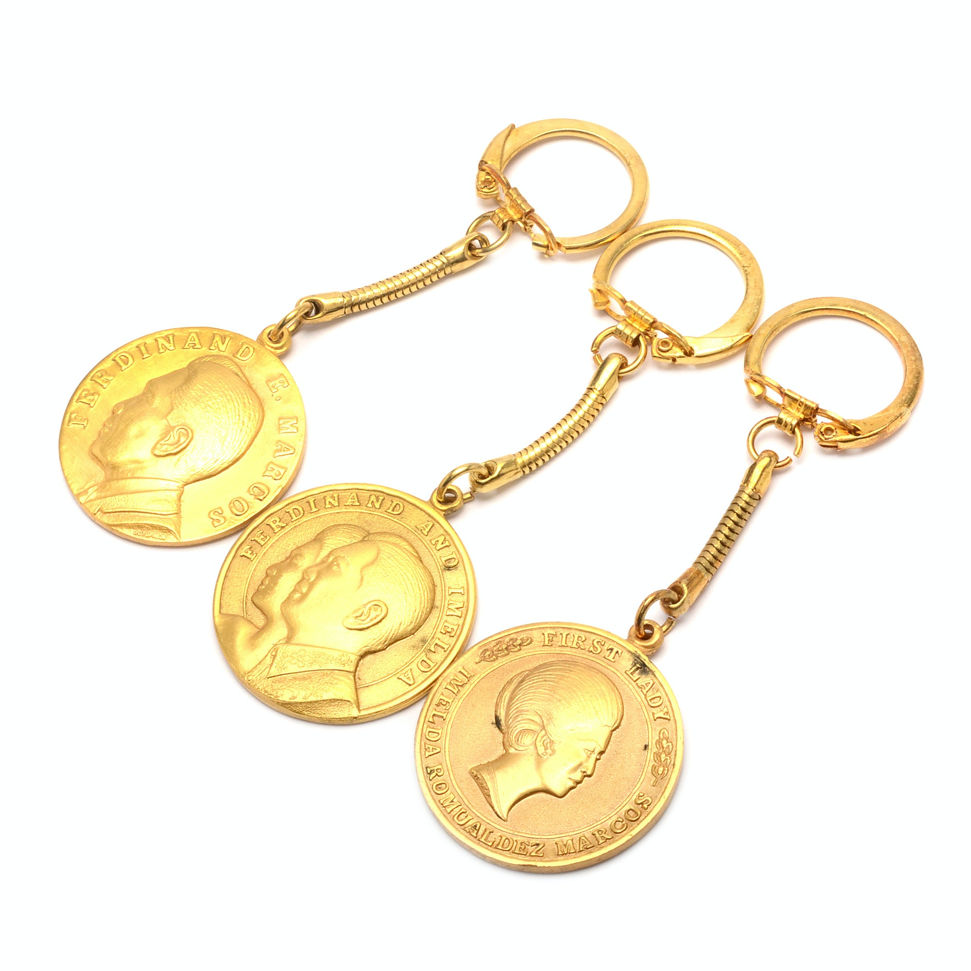Solid Brass Key Chains Honoring Ferdinand and Imelda Marcos