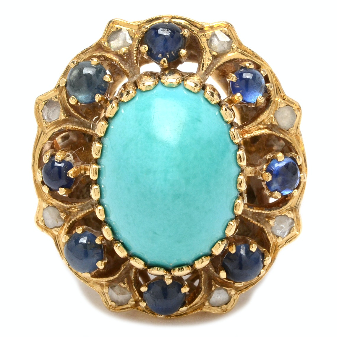18K Yellow Gold Turquoise Ring with Diamonds and Sapphires