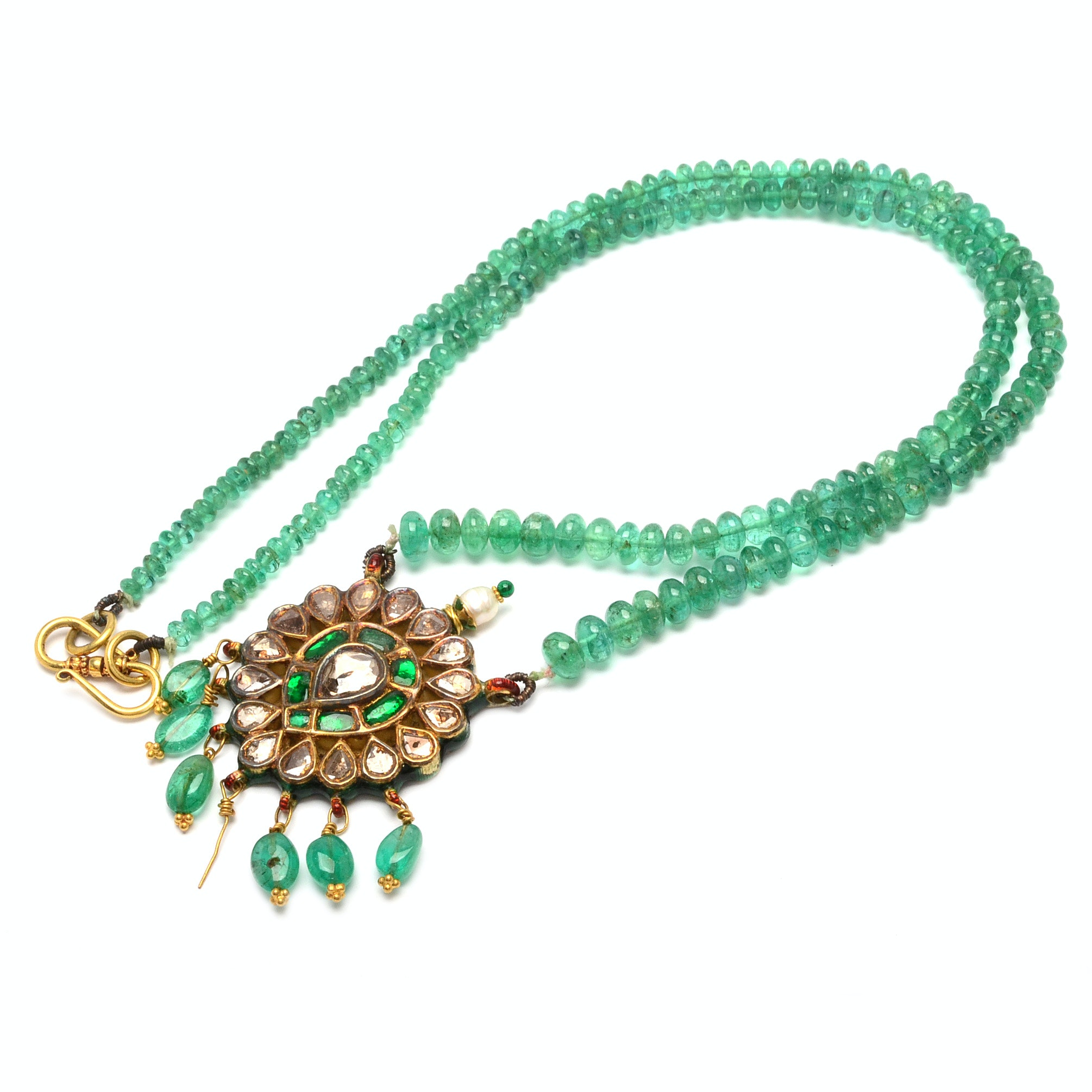 18K Gold Hand Crafted Emerald Rondelle Necklace with Emerald and Diamond Pendant