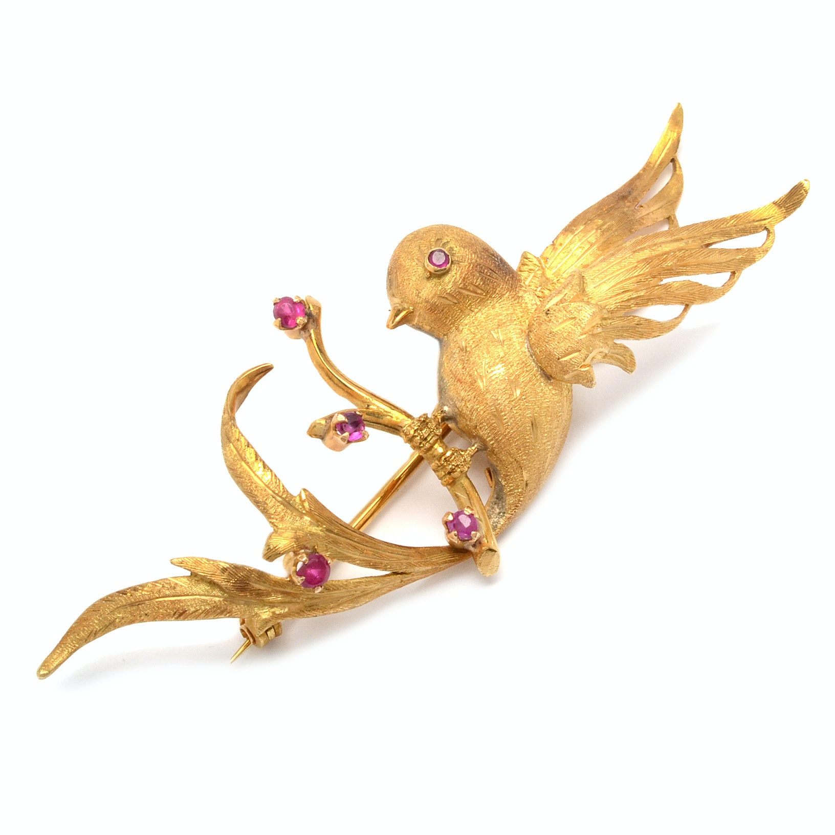 18K Yellow Gold Bird Brooch with Rubies