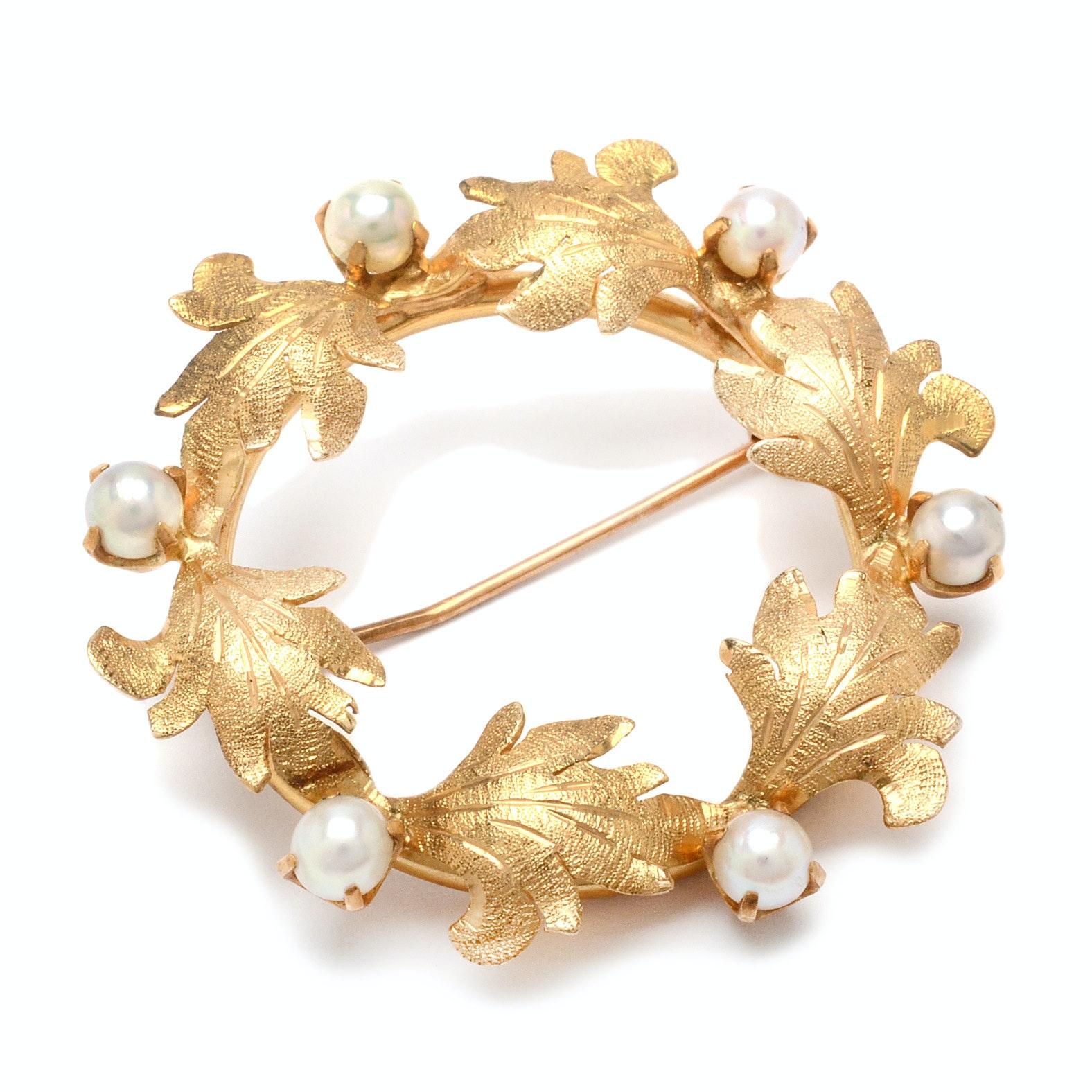 14K Gold Pearl Wreath Brooch