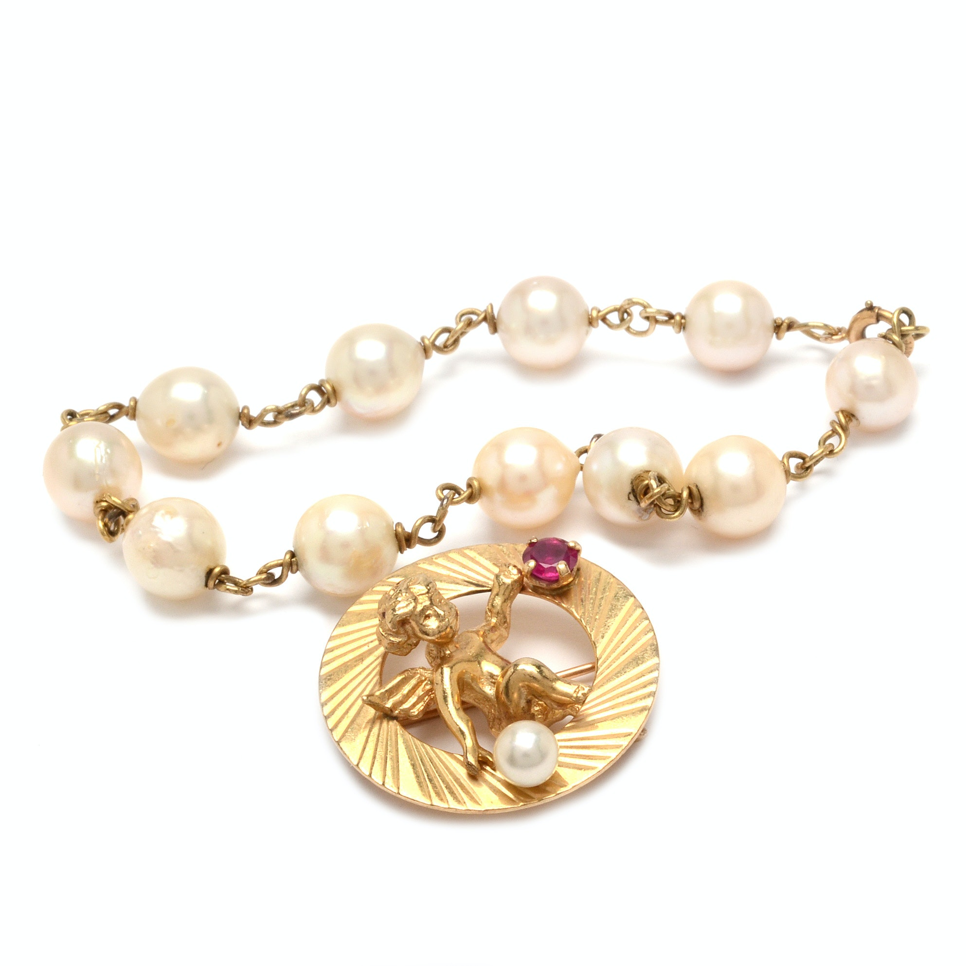 14K Gold Ruby and Pearl Circle Pin with Cupid and Pearl Bracelet