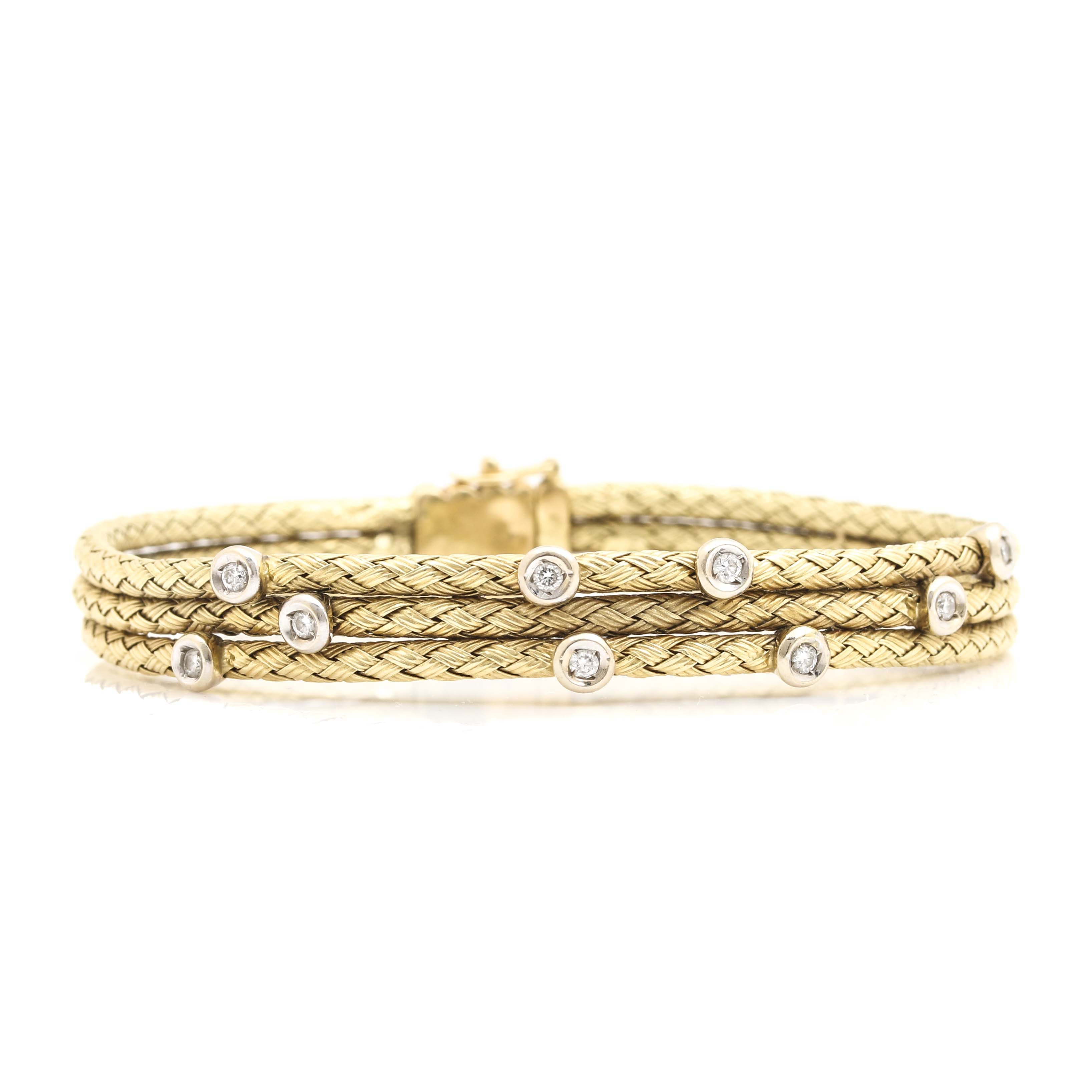 14K Yellow Gold Bracelet with Diamond Accents
