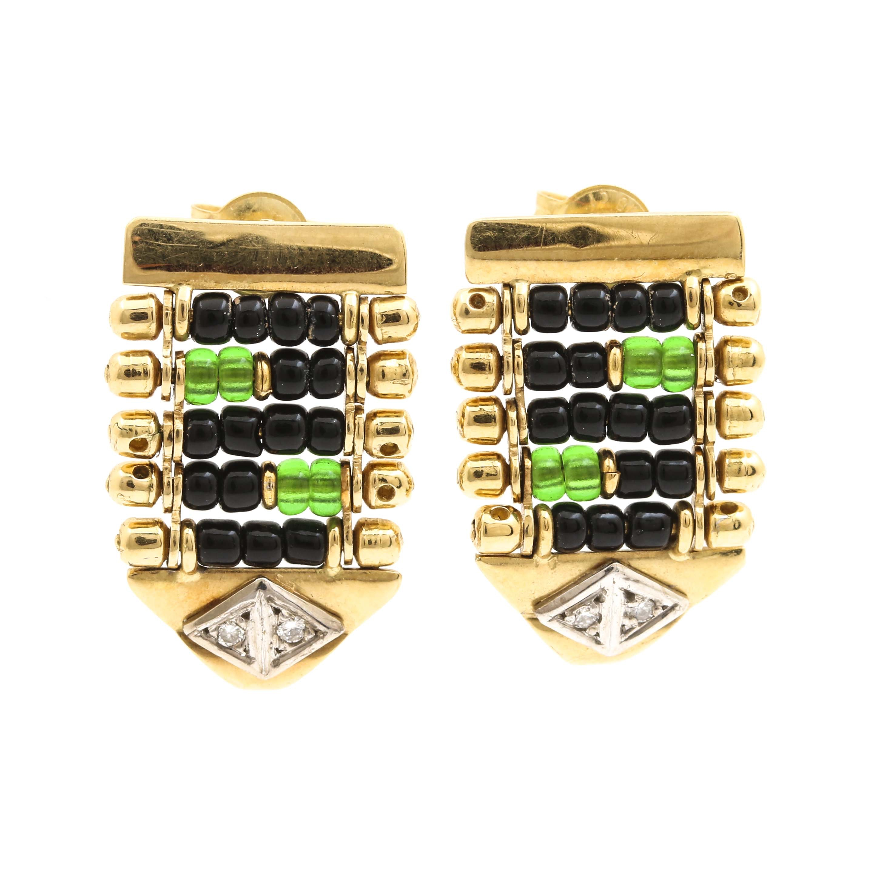 18K Yellow Gold Glass Bead and Diamond Drop Earrings