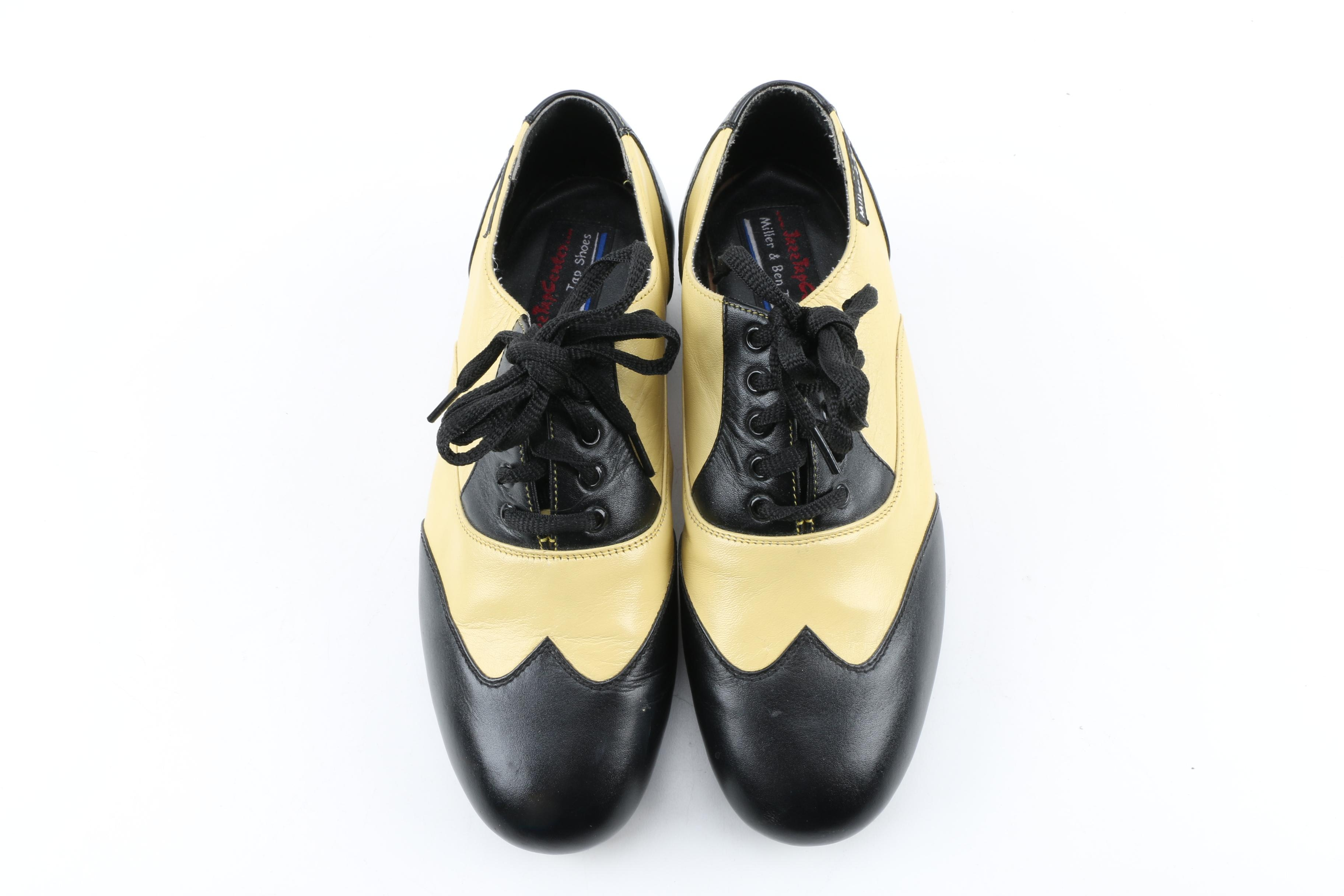 Miller & Ben Triple Threat Tap Shoes in Black and Ivory Leather