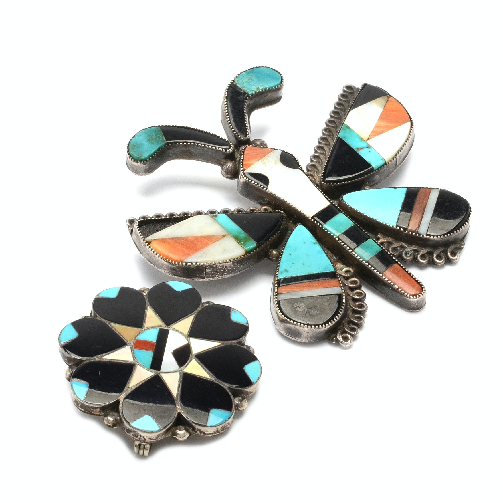 Sterling Silver Southwest Style Brooches With Inlaid Gemstones