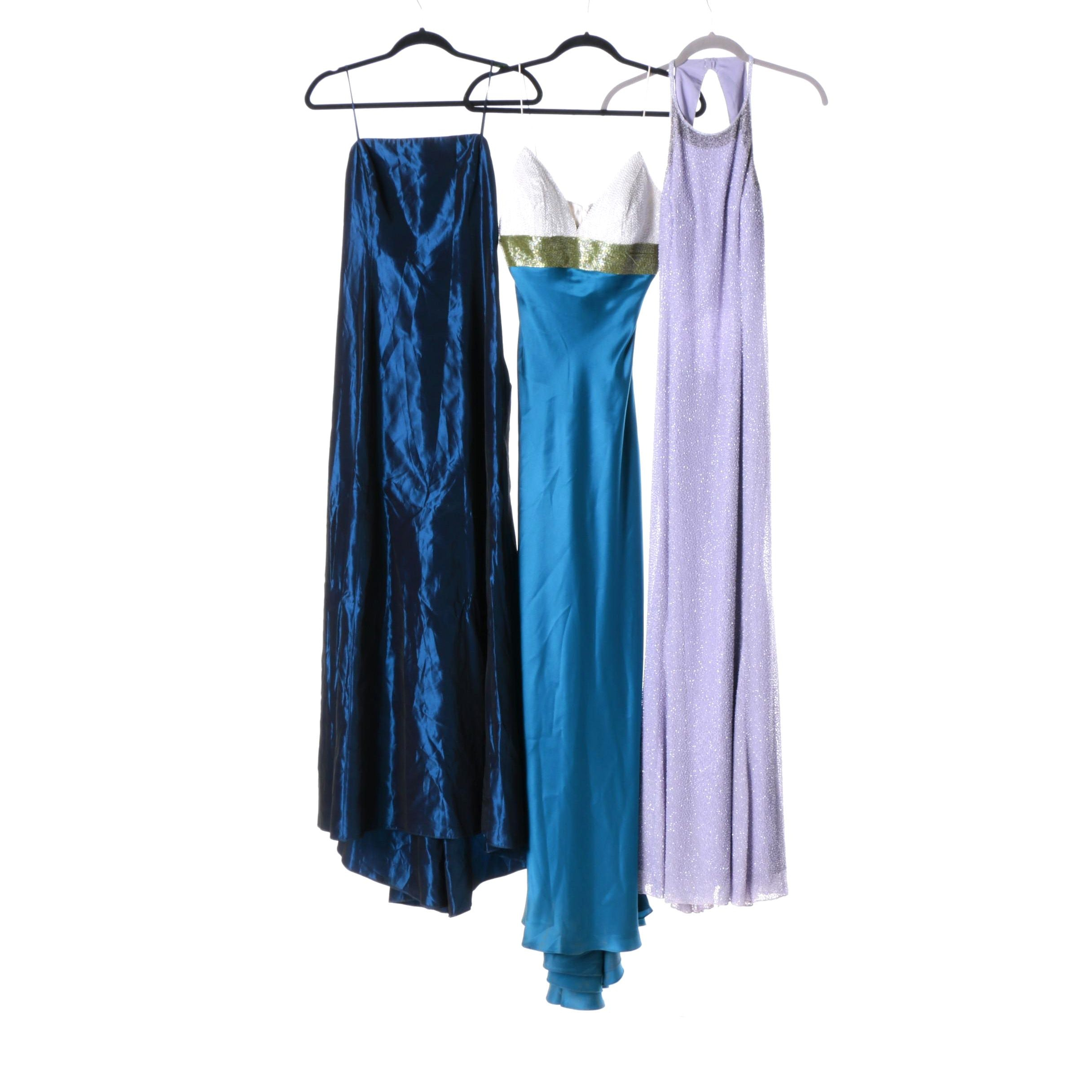 Jewel-Tone and Beaded Evening Dresses Including Lillie Rubin