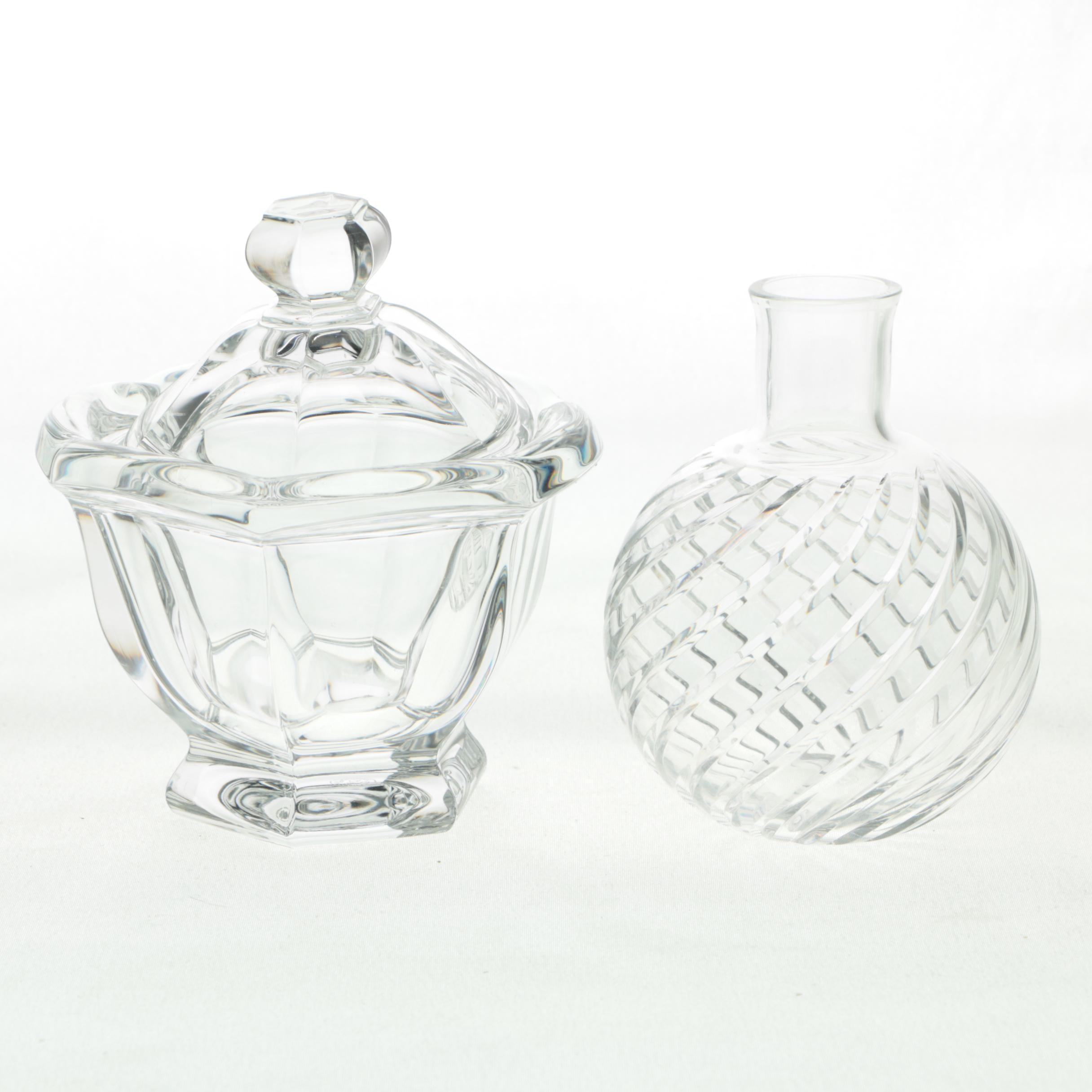 "Baccarat Crystal ""Cyclades"" Vase and ""Bretagne"" Jar"