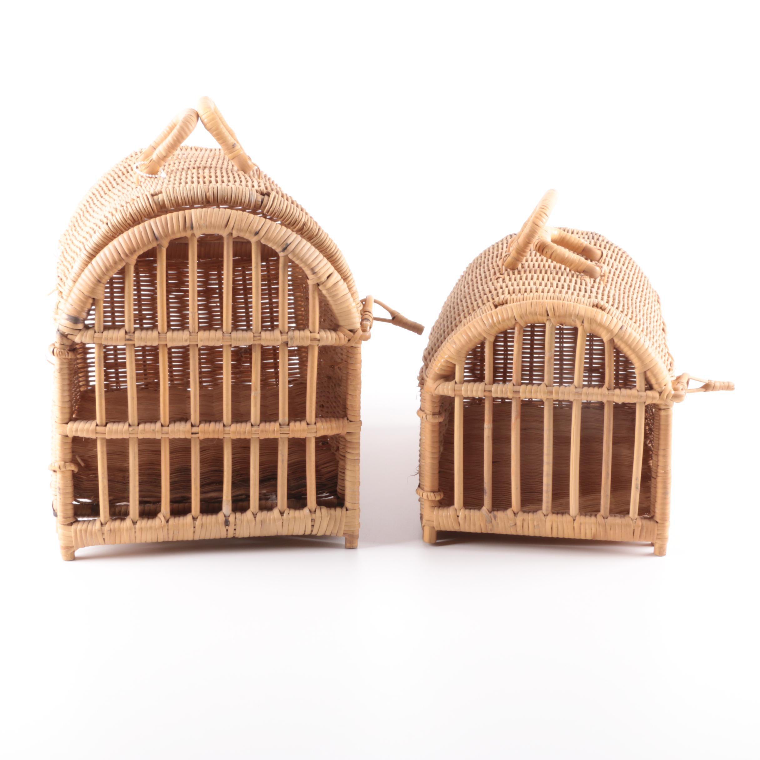 Wicker Animal Crates with Hinged Fronts