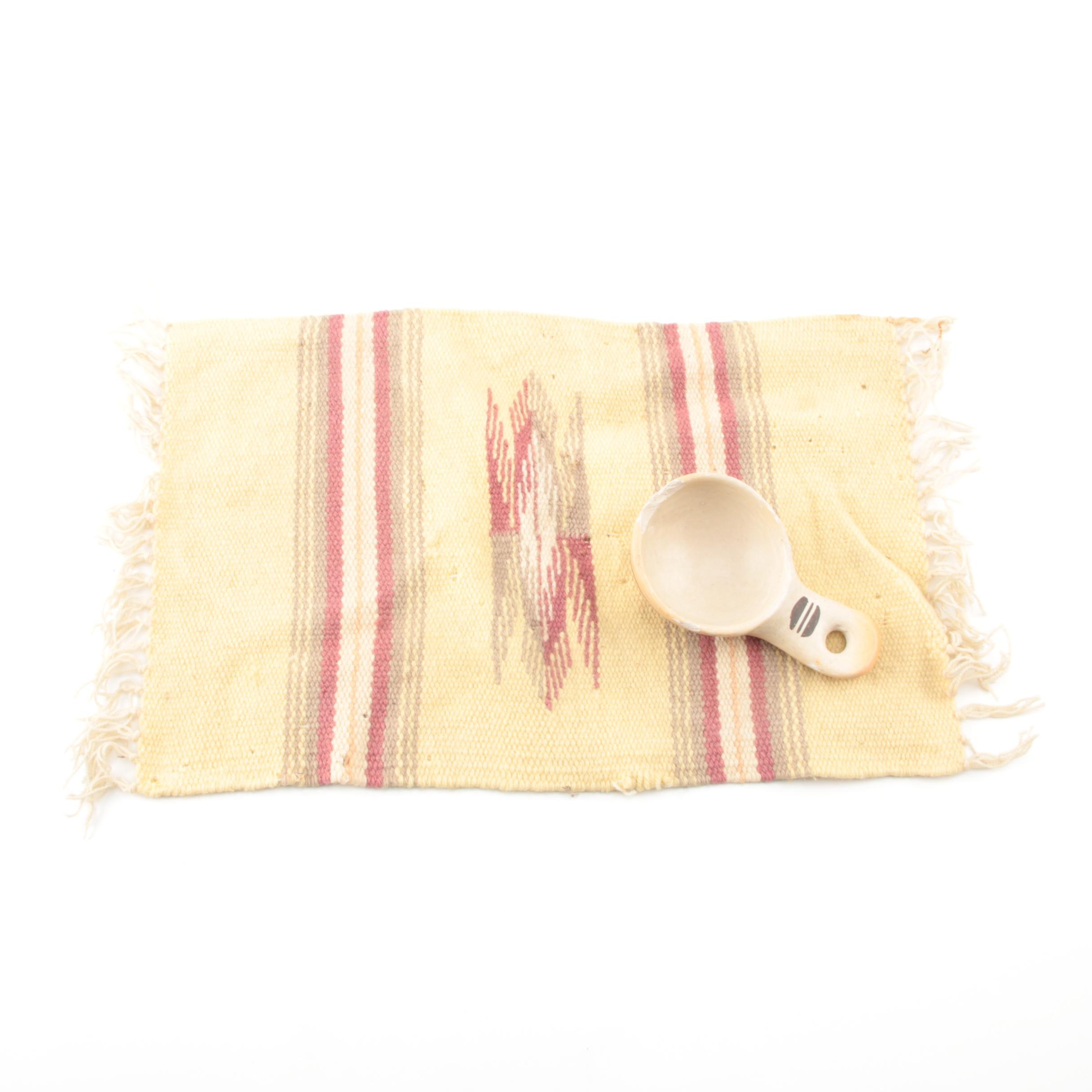 Signed Rachel Nampeyo Hopi Pottery Spoon and Placemat