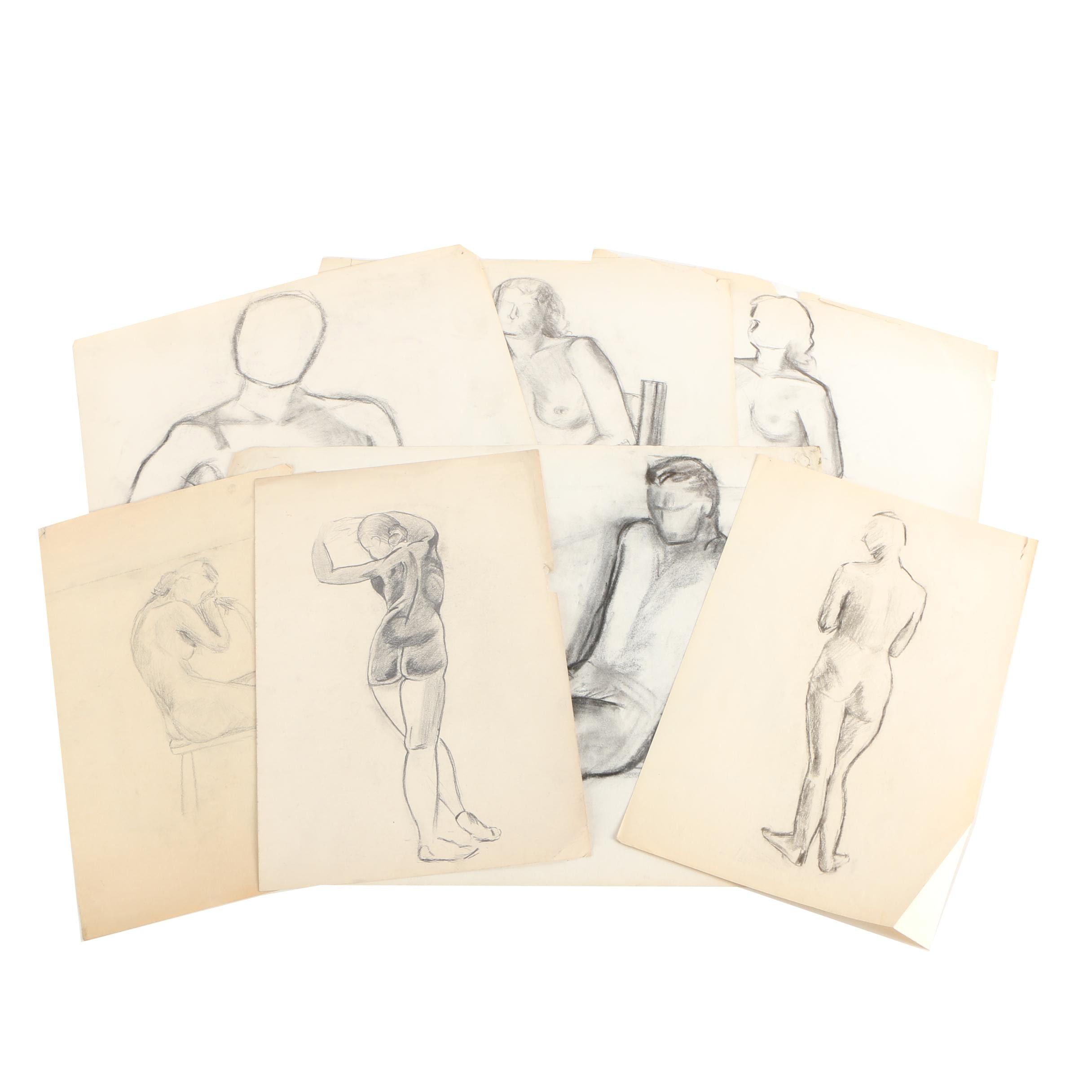 Charcoal Nude Figure Studies