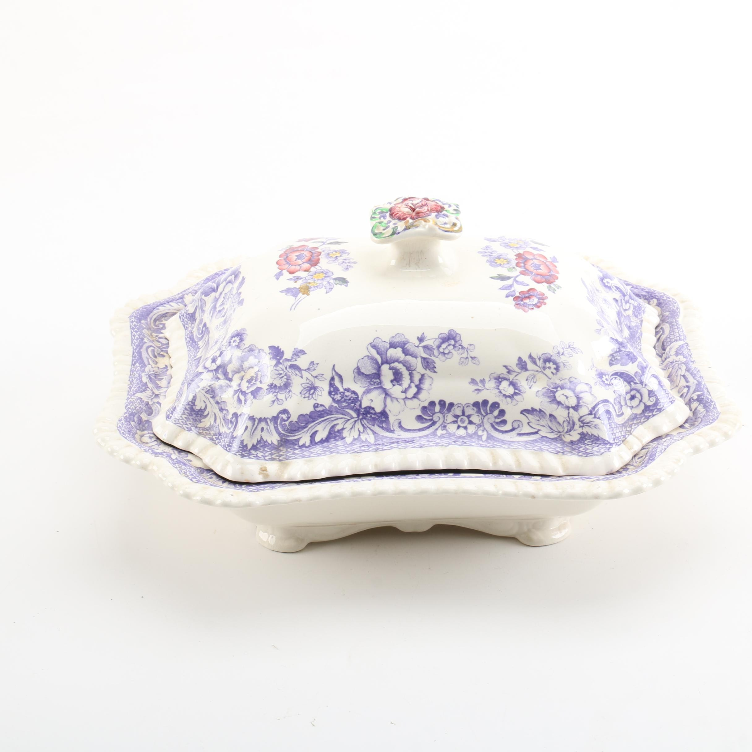 Vintage Copeland Spode Covered Ceramic Vegetable Dish