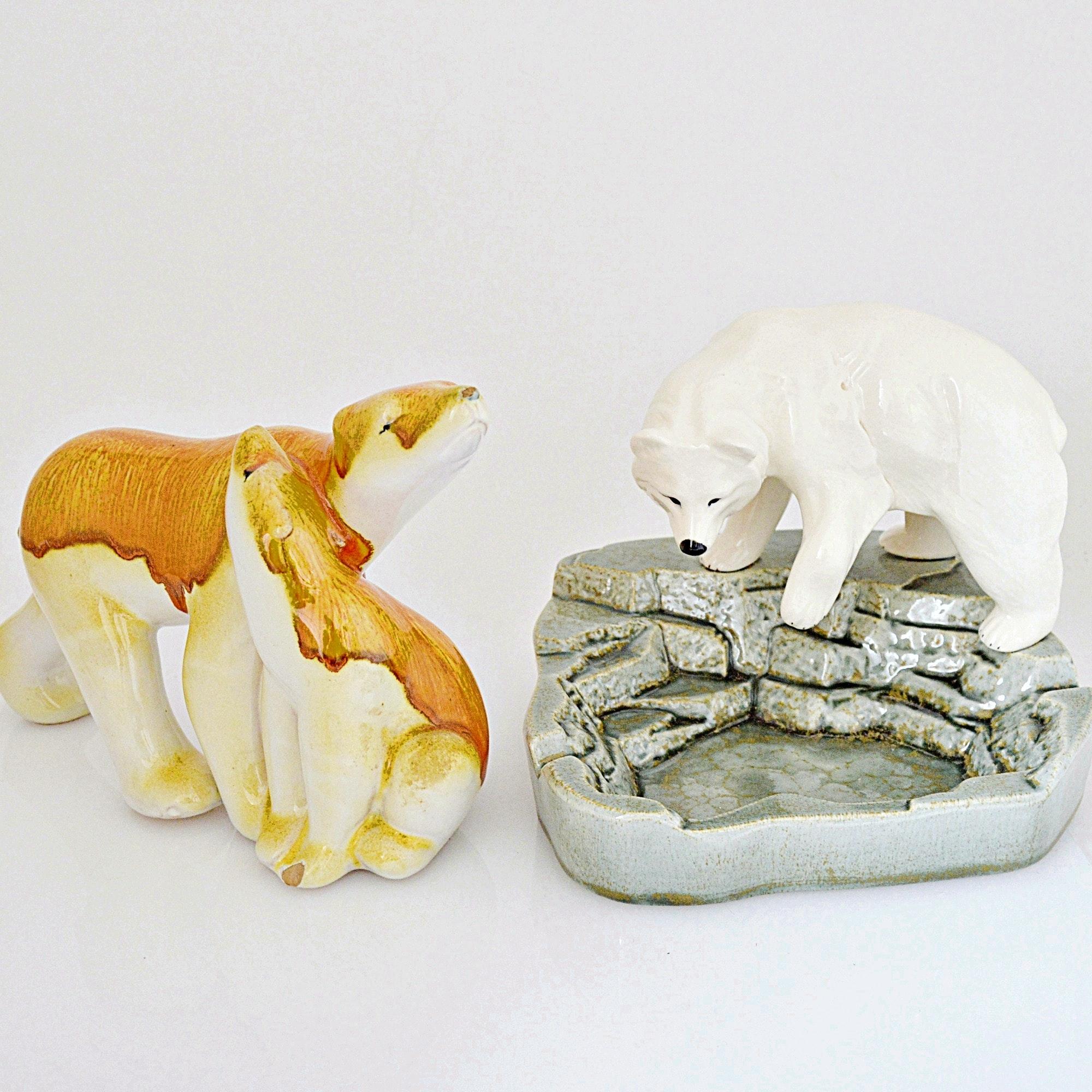 Porcelain and Ceramic Polar Bear Figurines