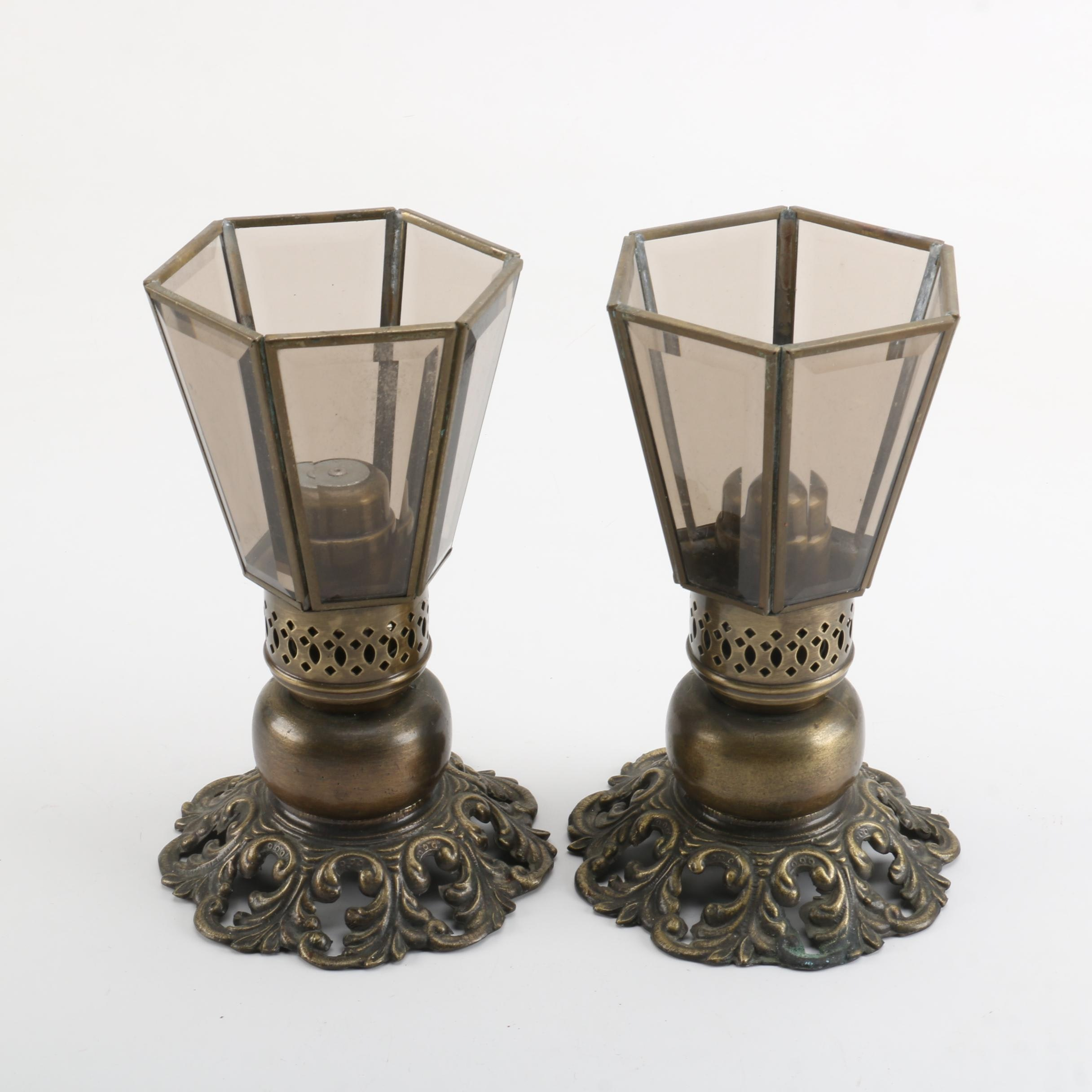 Glass Paneled Brass Candle Holders