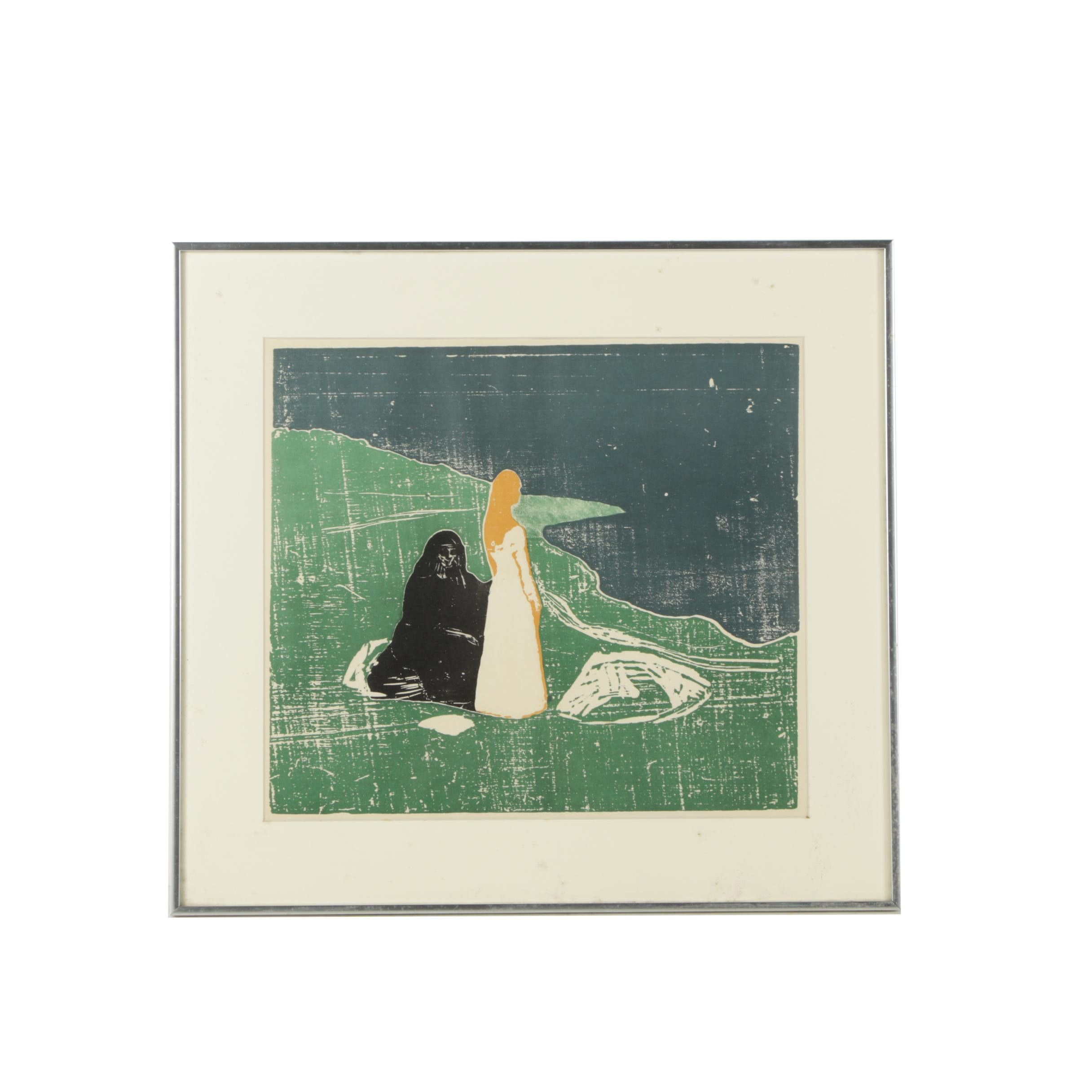 """Screenprint After Edvard Munch """"Two Women on the Shore"""""""