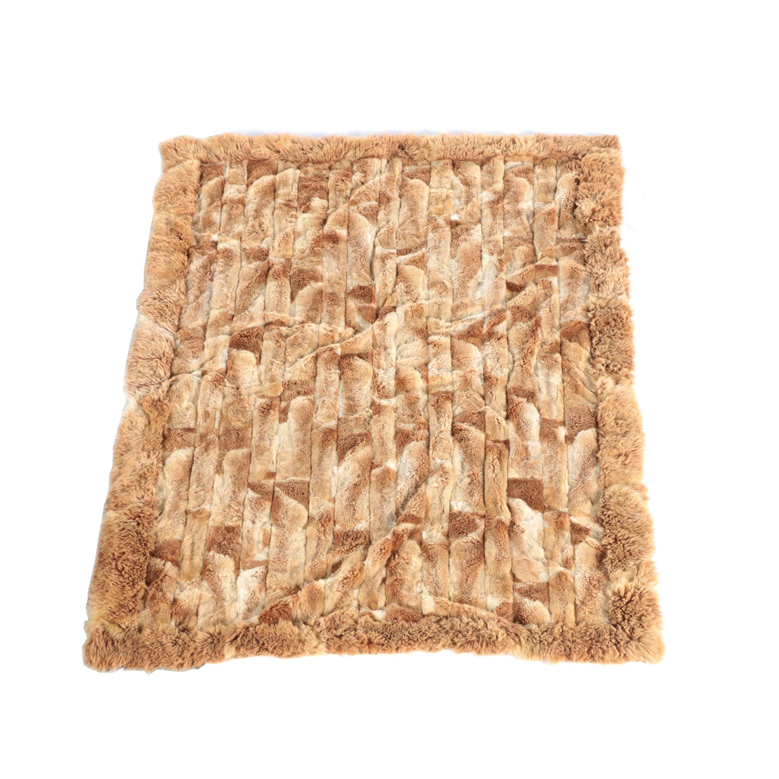 Geometric Grid Alpaca Fur Rug