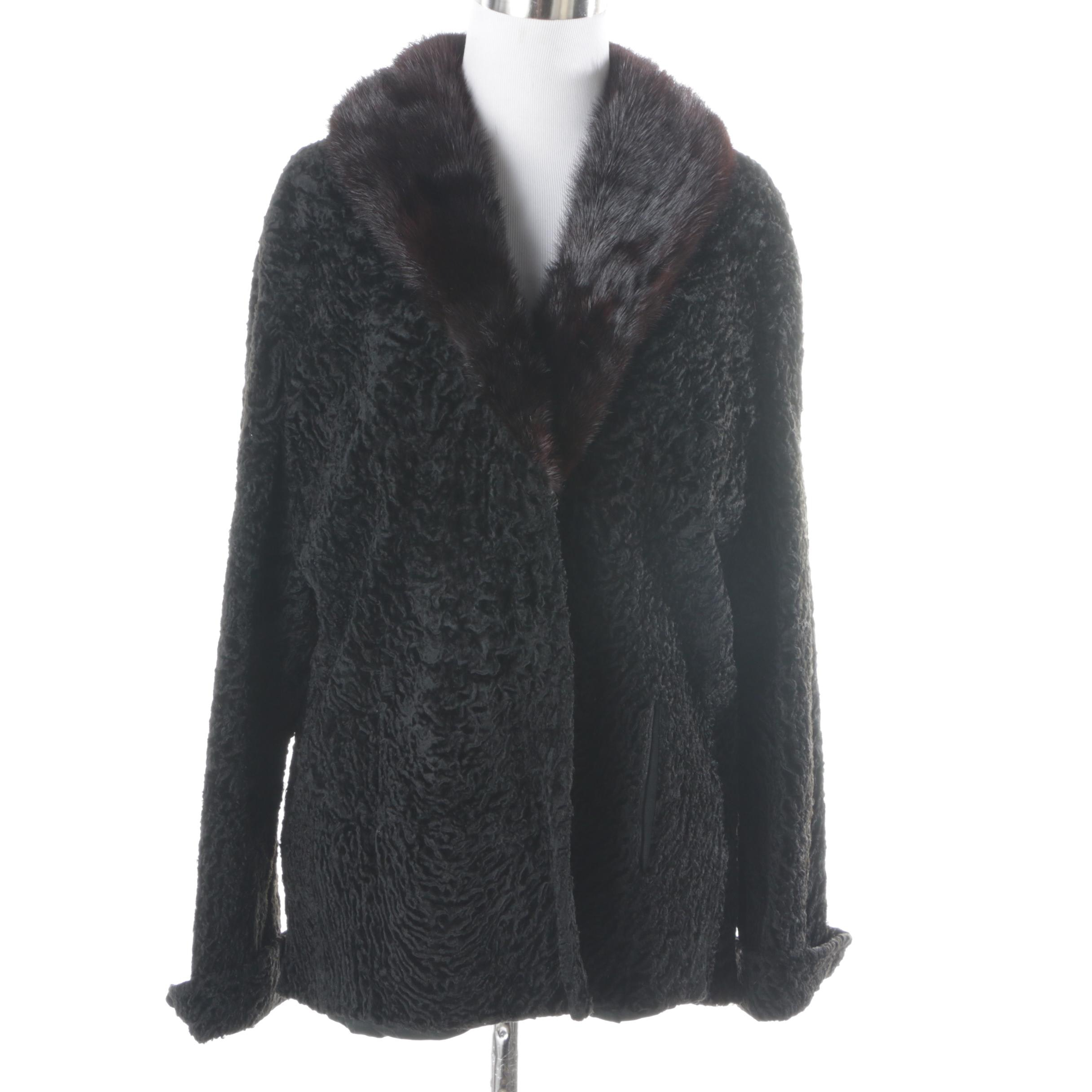 Persian Lamb Coat with Mink Fur Collar