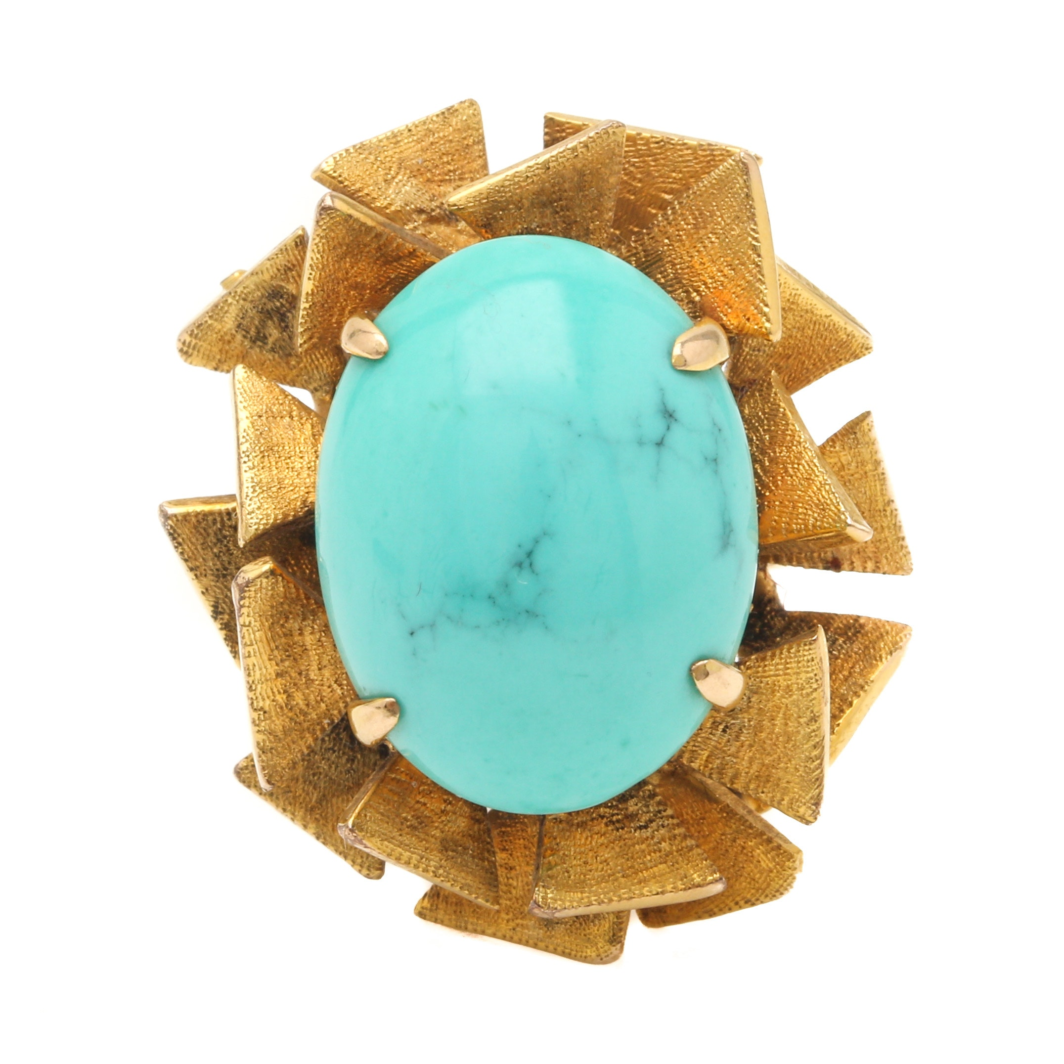 Vintage Brutalist 14K Yellow Gold Stabilized Turquoise Ring