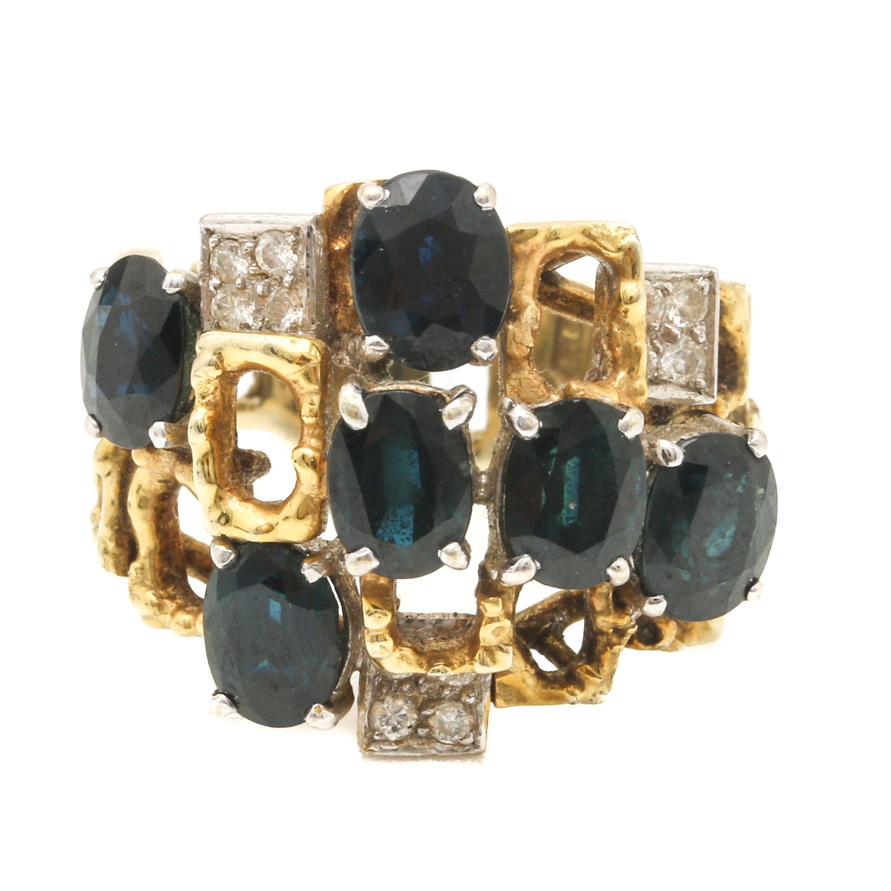 Vintage Brutalist 14K Yellow Gold Sapphire and Diamond Ring
