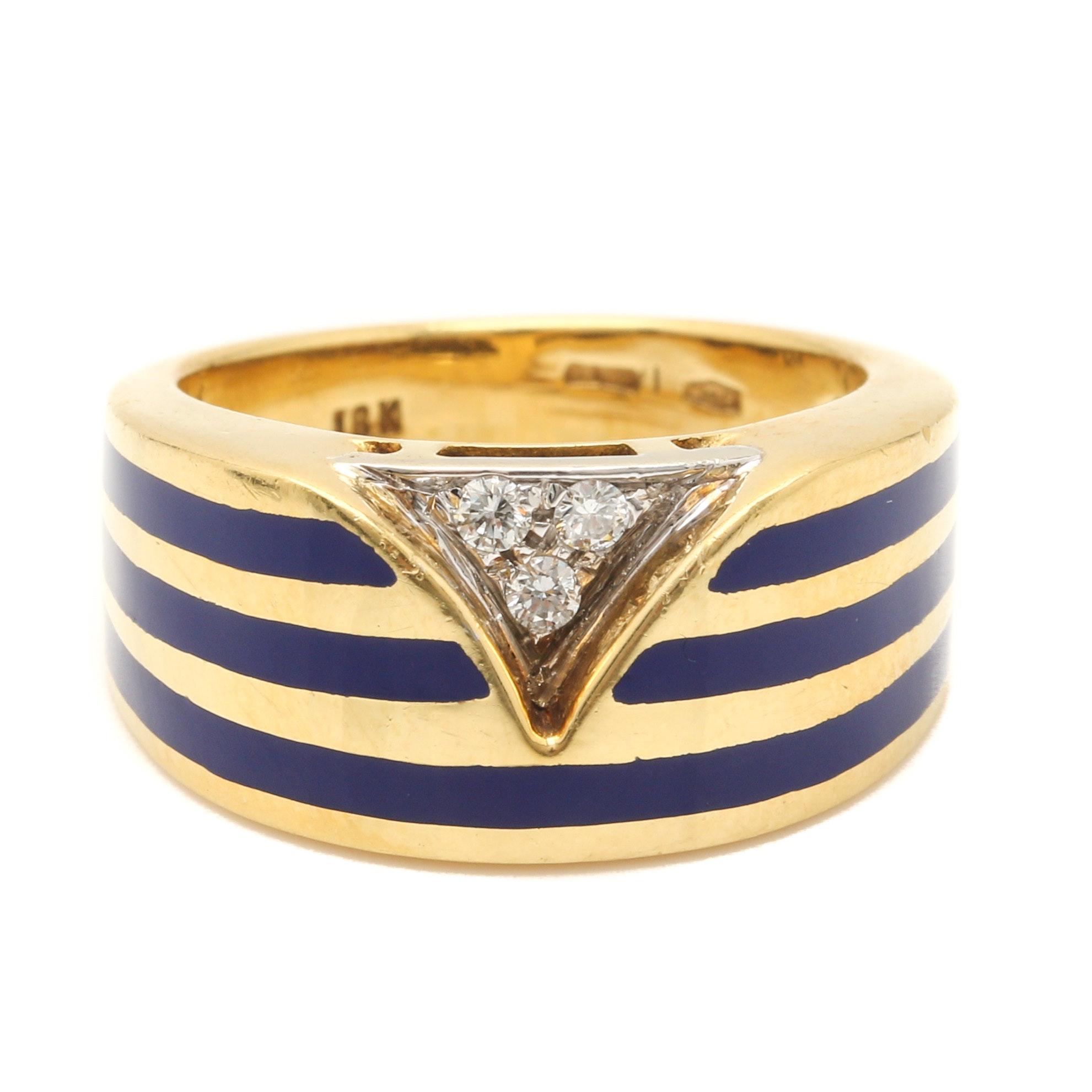 Italian 18K Yellow Gold Diamond and Blue Enamel Ring