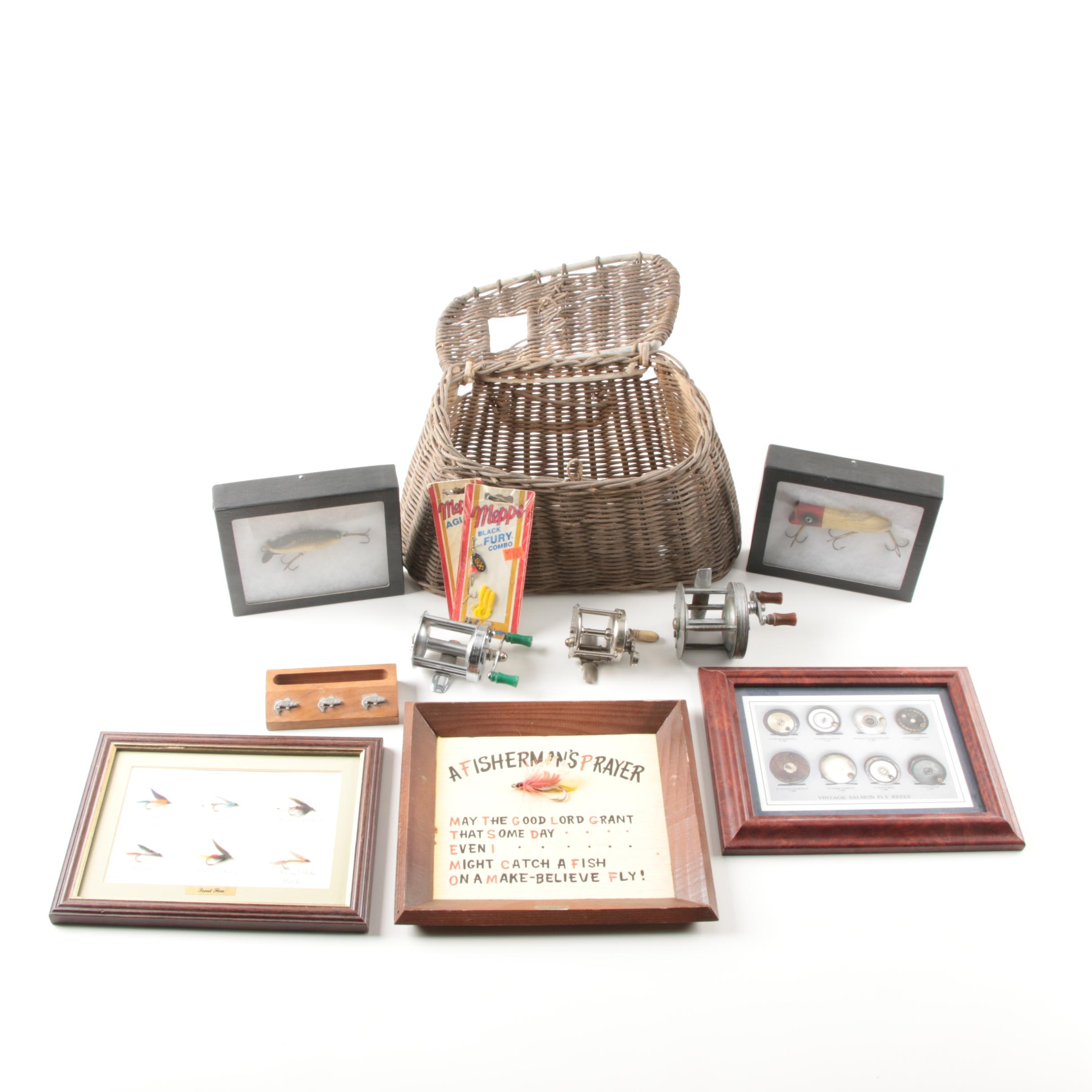 Woven Willow Fishing Creel with Fishing Lures and Reels