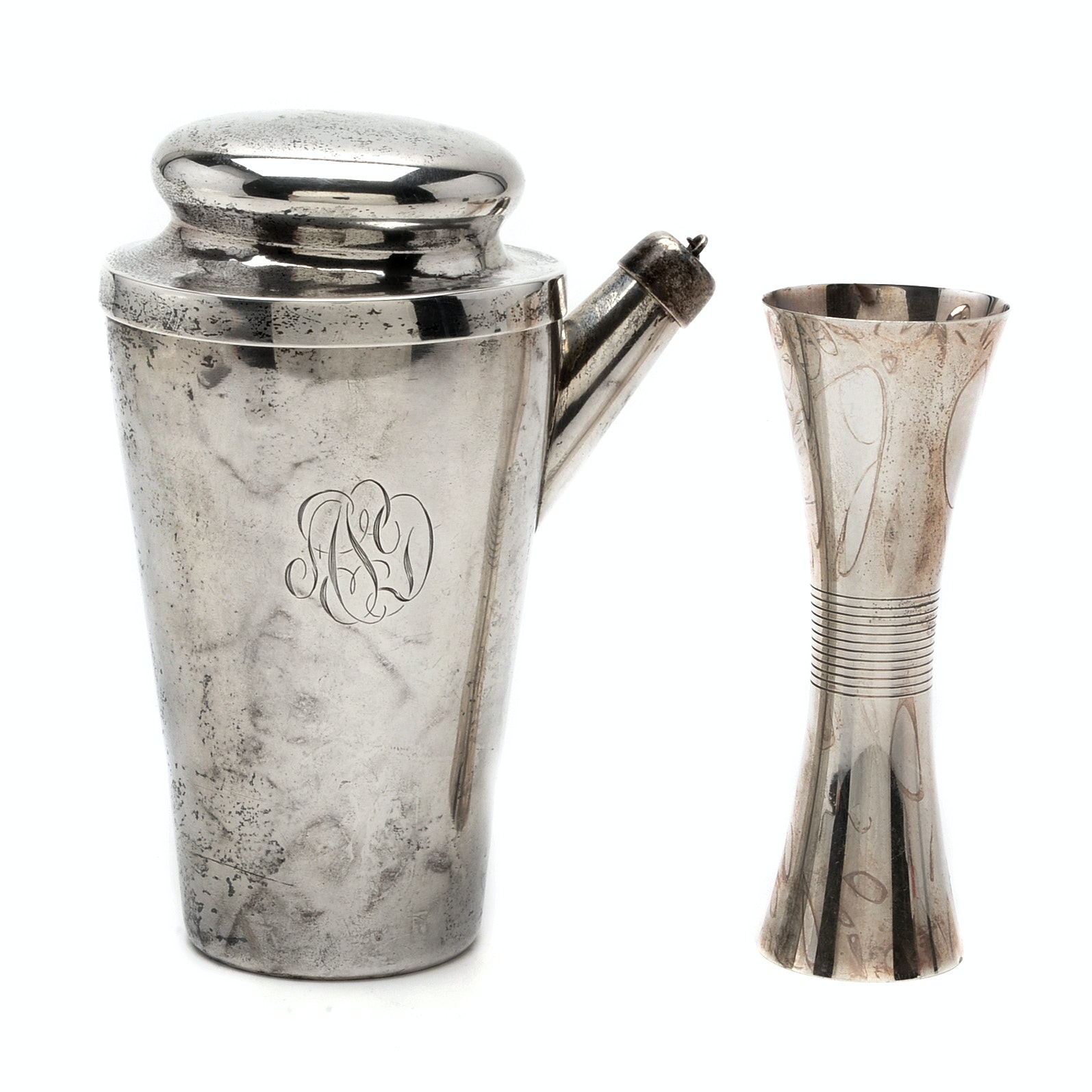Vintage Sterling Silver Cocktail Shaker and Towle Sterling Jigger