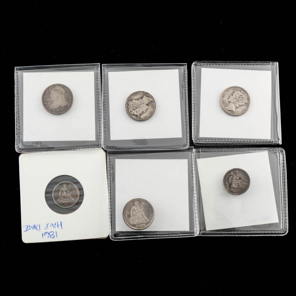 U.S. Silver Half Dimes and Dimes