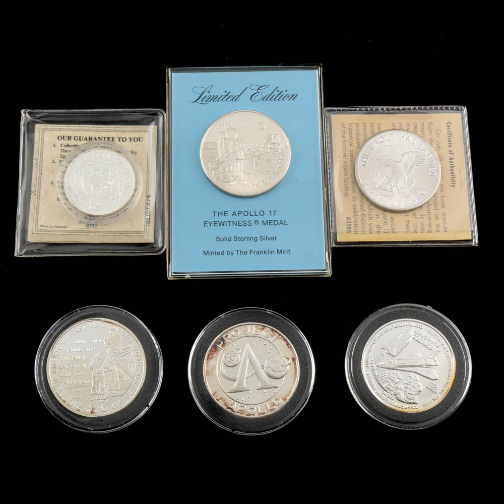 Commemorative Space Silver Rounds and Silver Coins