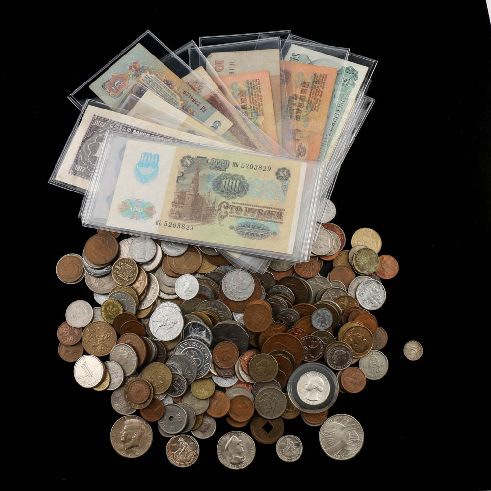 Vintage Foreign Coins and Foreign Currency