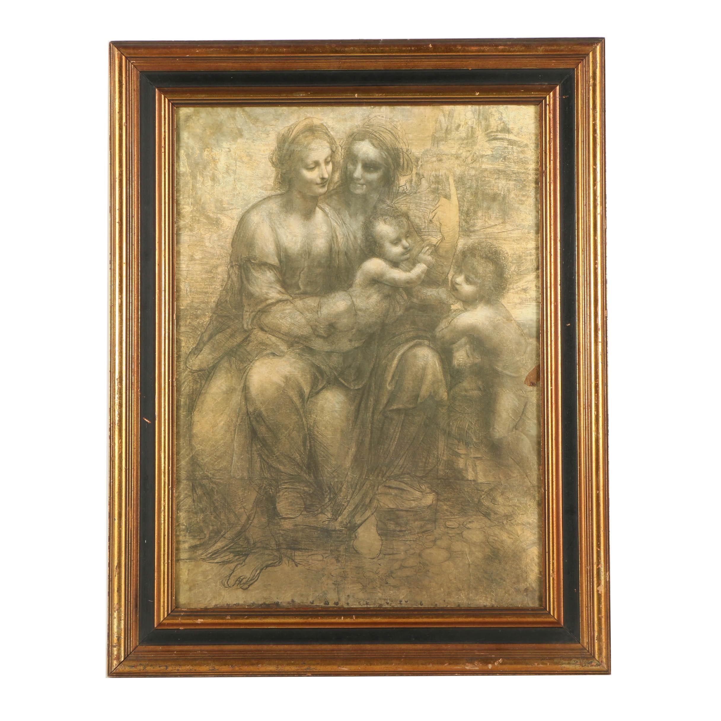 "Offset Lithograph After Leonardo da Vinci's Drawing ""Virgin and Child"""