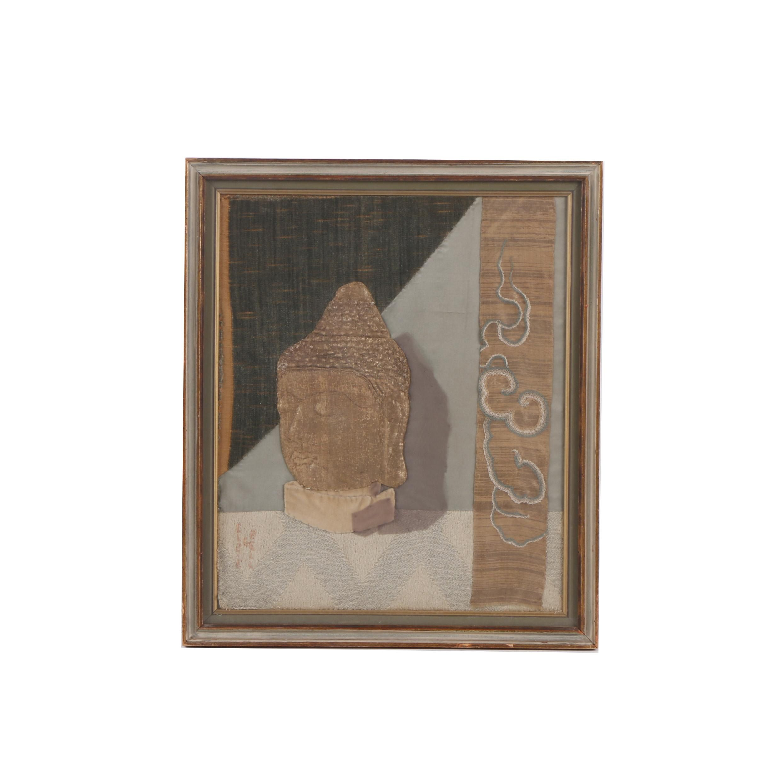 Elzie G. Bell Fabric Collage of a Buddha Head